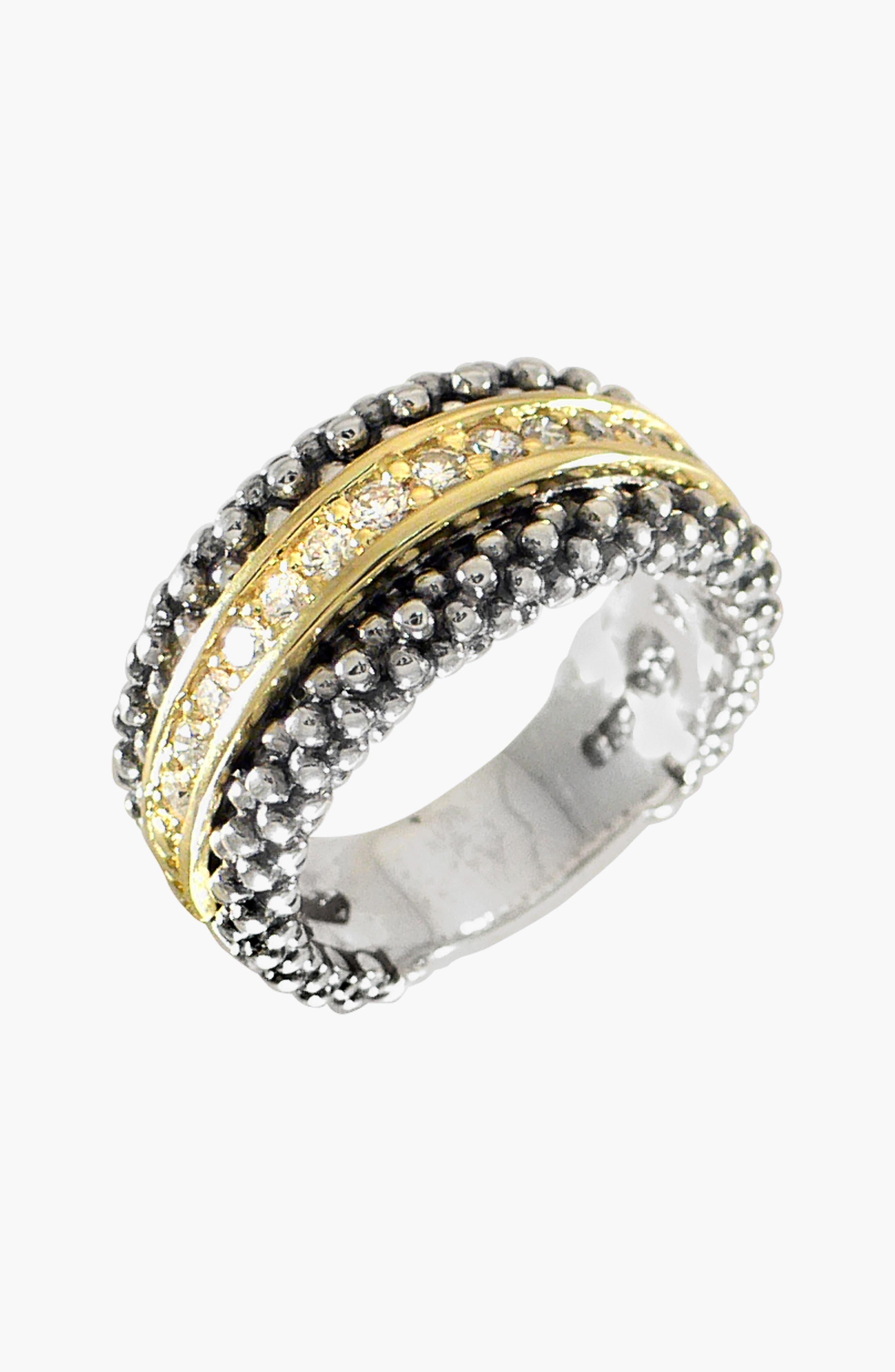 Diamonds & Caviar Ring,                             Alternate thumbnail 3, color,                             Silver/ Gold