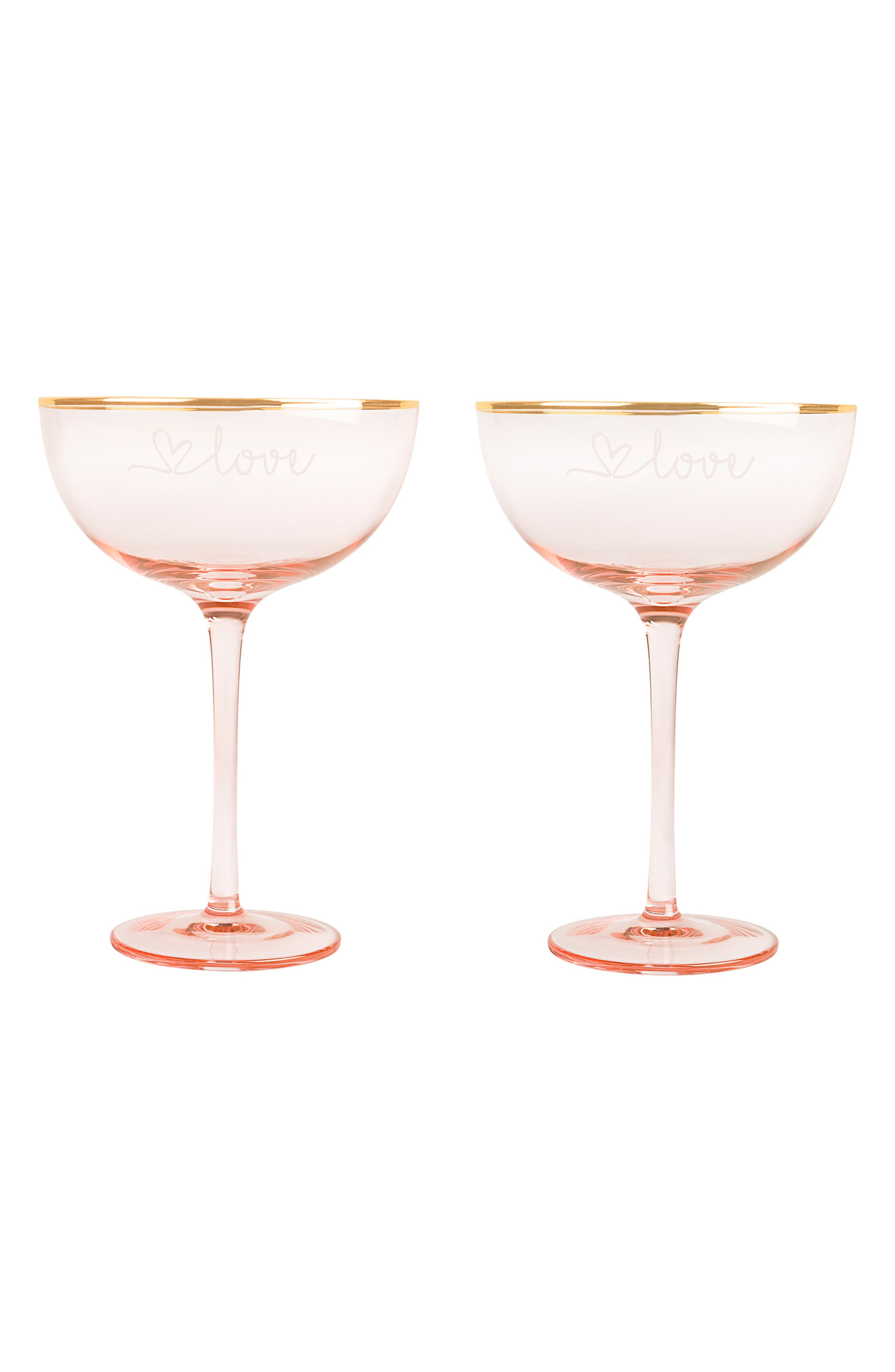 Love Champagne Coupes and Cake Serving Set,                             Alternate thumbnail 5, color,                             Blush