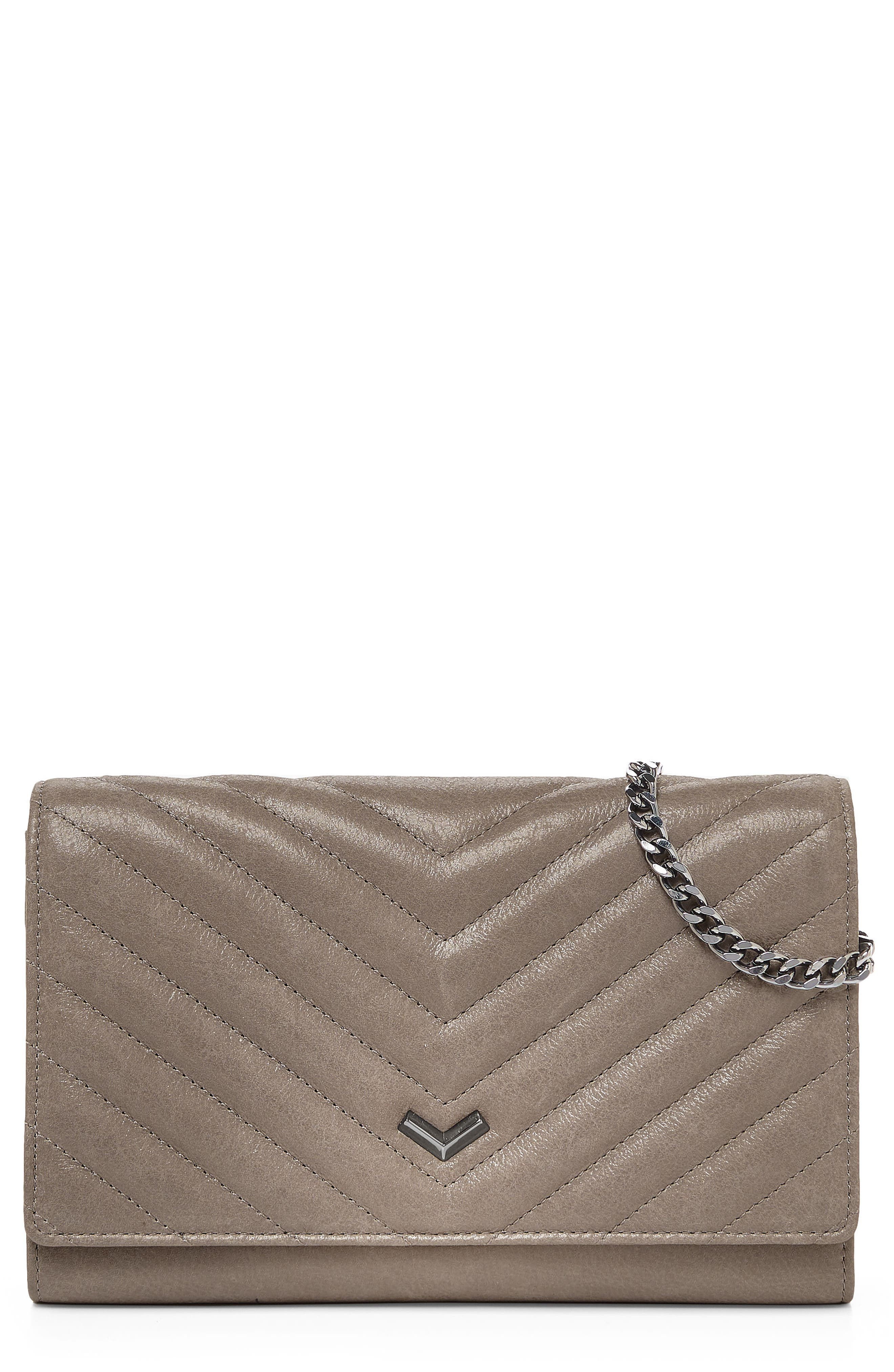 Soho Calfskin Leather Wallet on a Chain,                         Main,                         color, Truffle