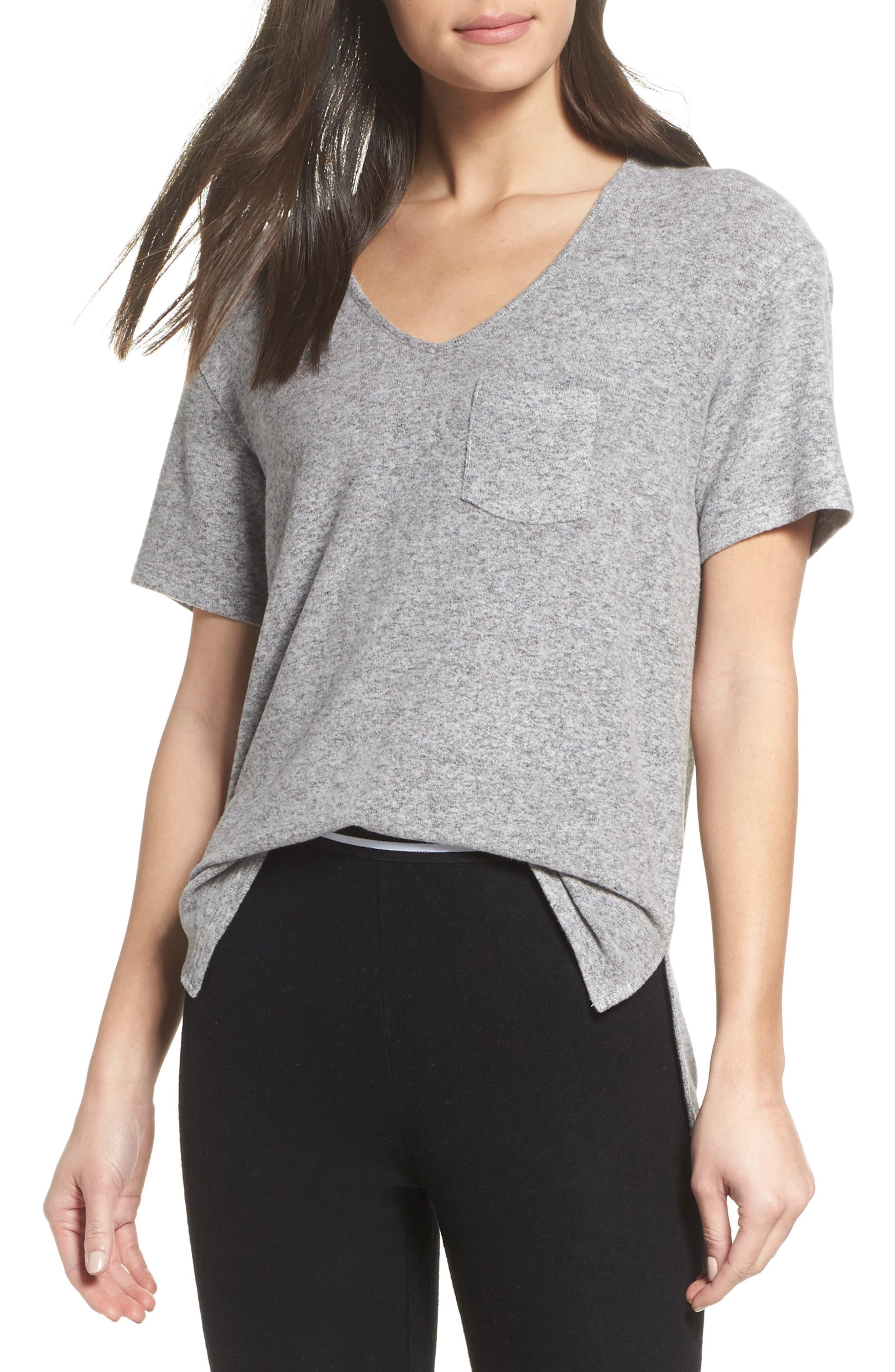 Cozy V-Neck Tee,                         Main,                         color, Grey Flannel Marl