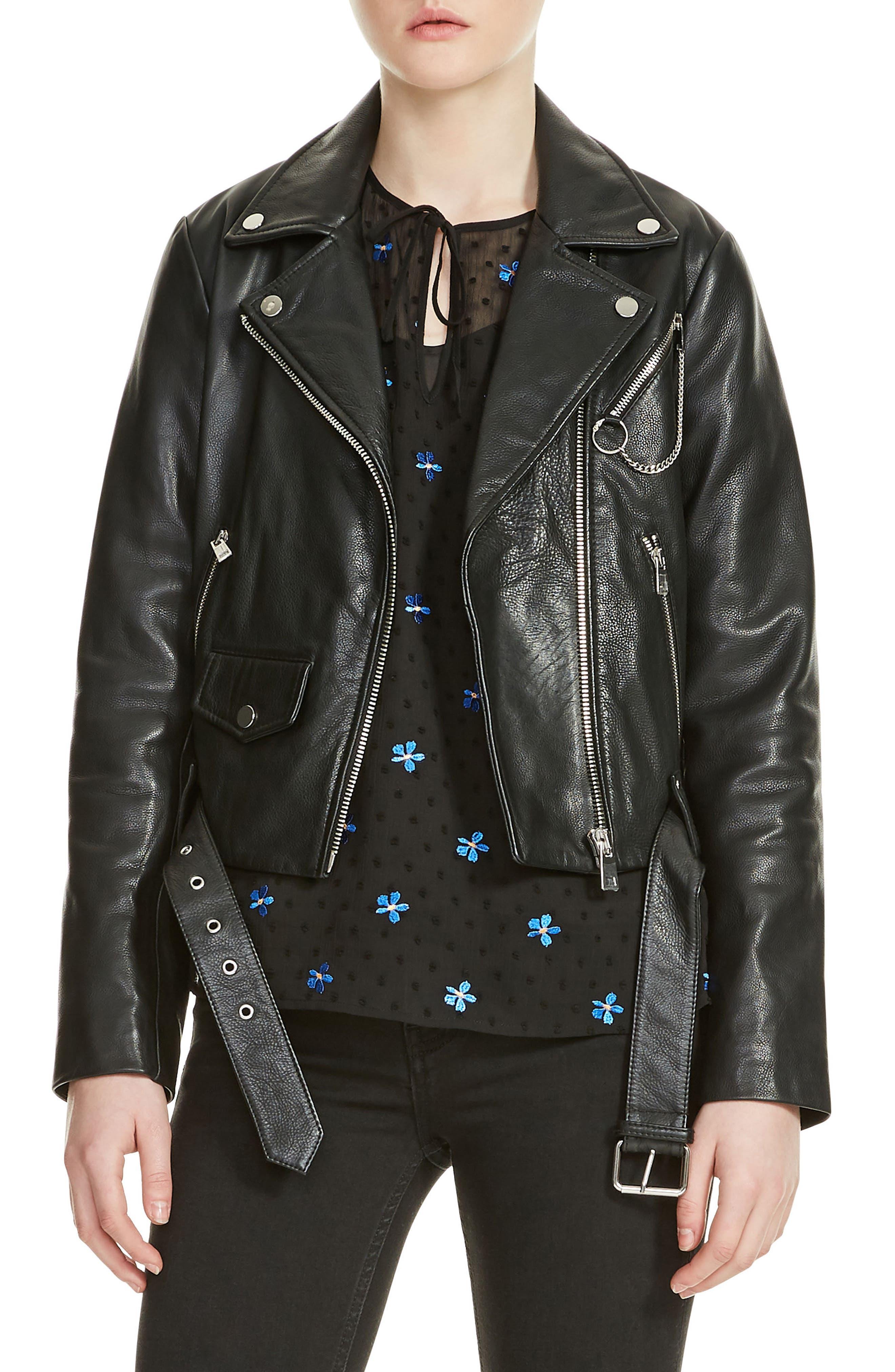 Bassung Leather Moto Jacket,                         Main,                         color, Black 210