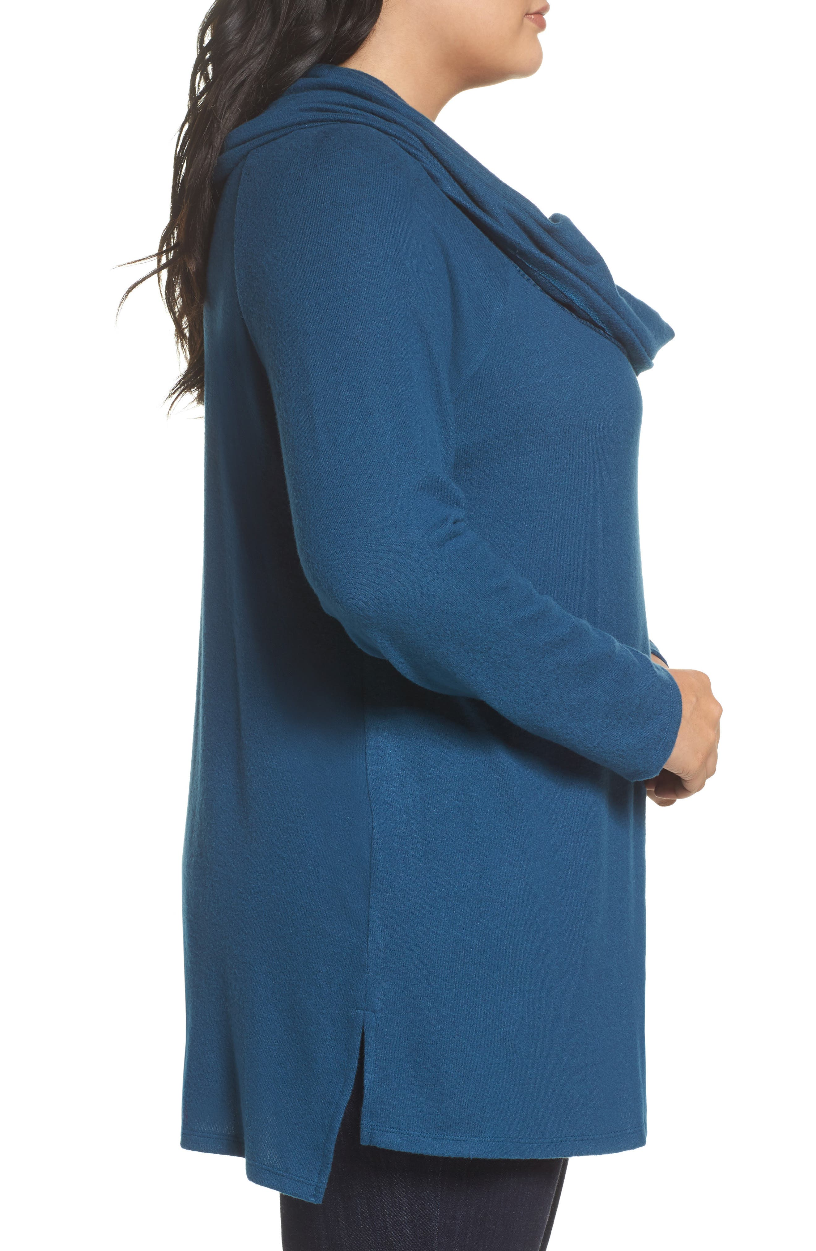 Alternate Image 3  - Gibson Convertible Neckline Cozy Fleece Tunic (Plus Size)