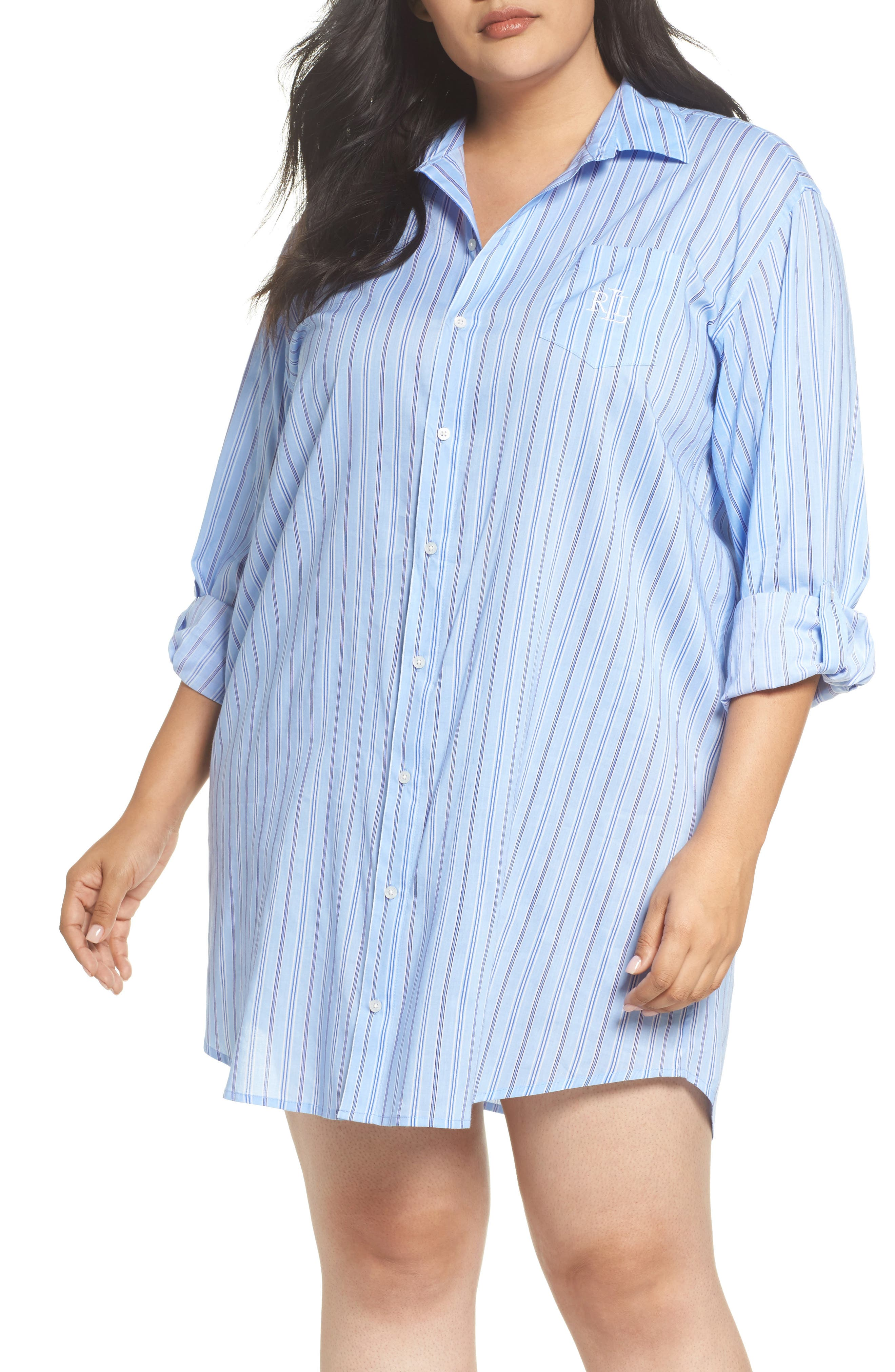Night Shirt,                         Main,                         color, Blue Stripe