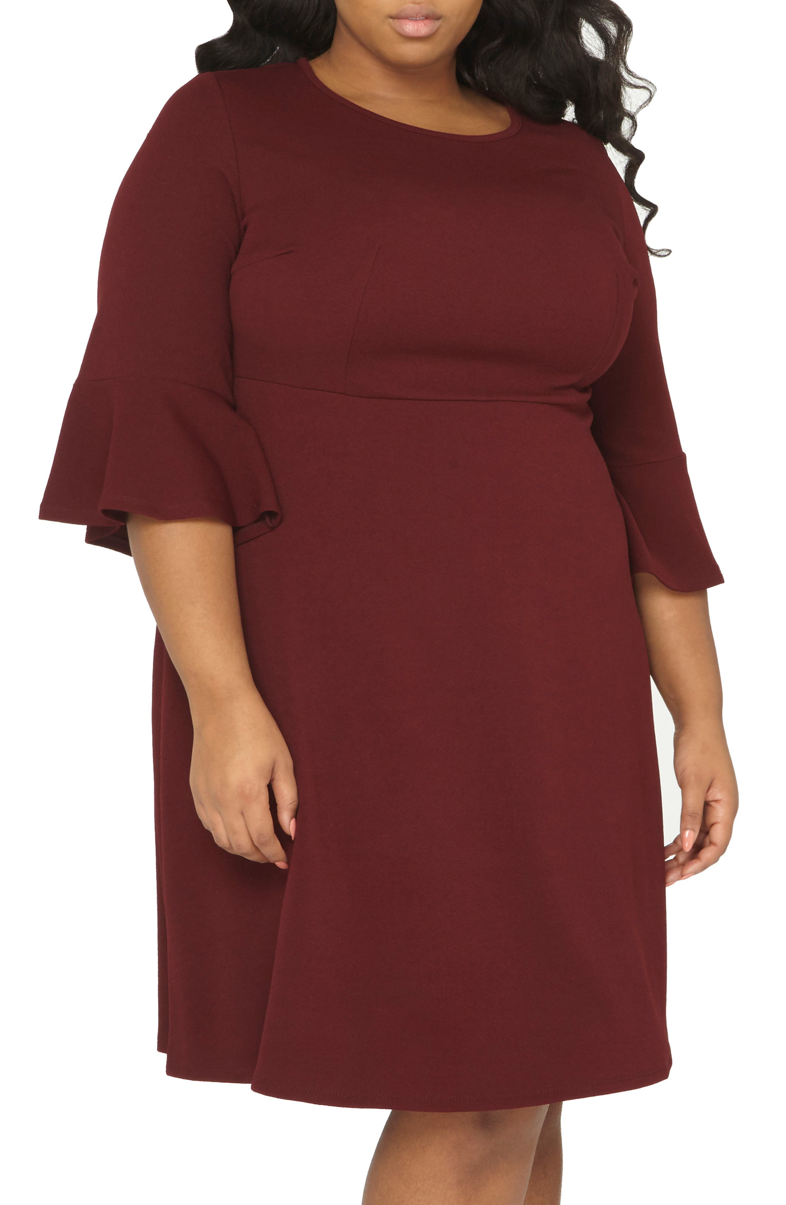Ruffle Sleeve Fitted Dress,                             Main thumbnail 1, color,                             Wine