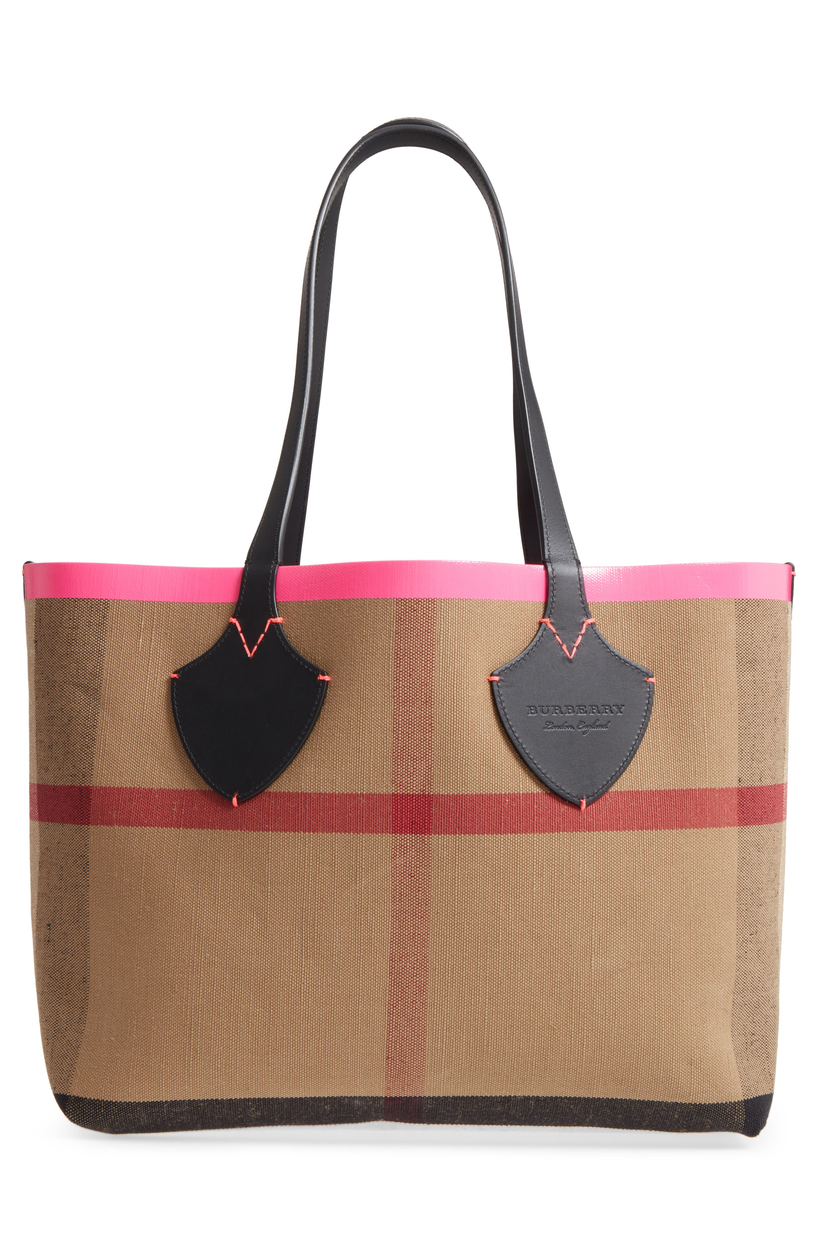 Medium Reversible Check Canvas & Leather Tote,                             Alternate thumbnail 4, color,                             Black/ Neon Pink
