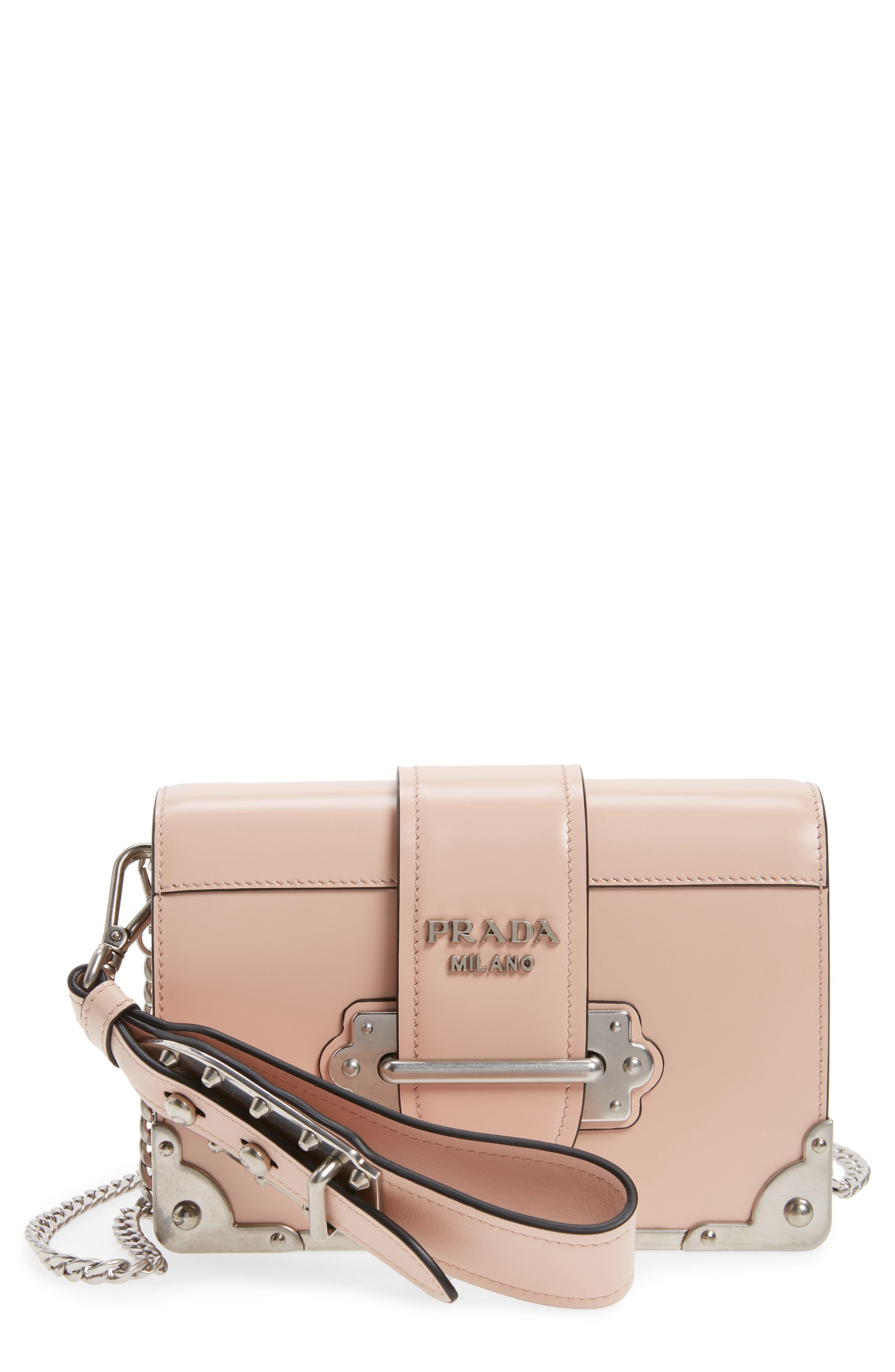 Alternate Image 1 Selected - Prada Small Cahier Leather Shoulder Bag