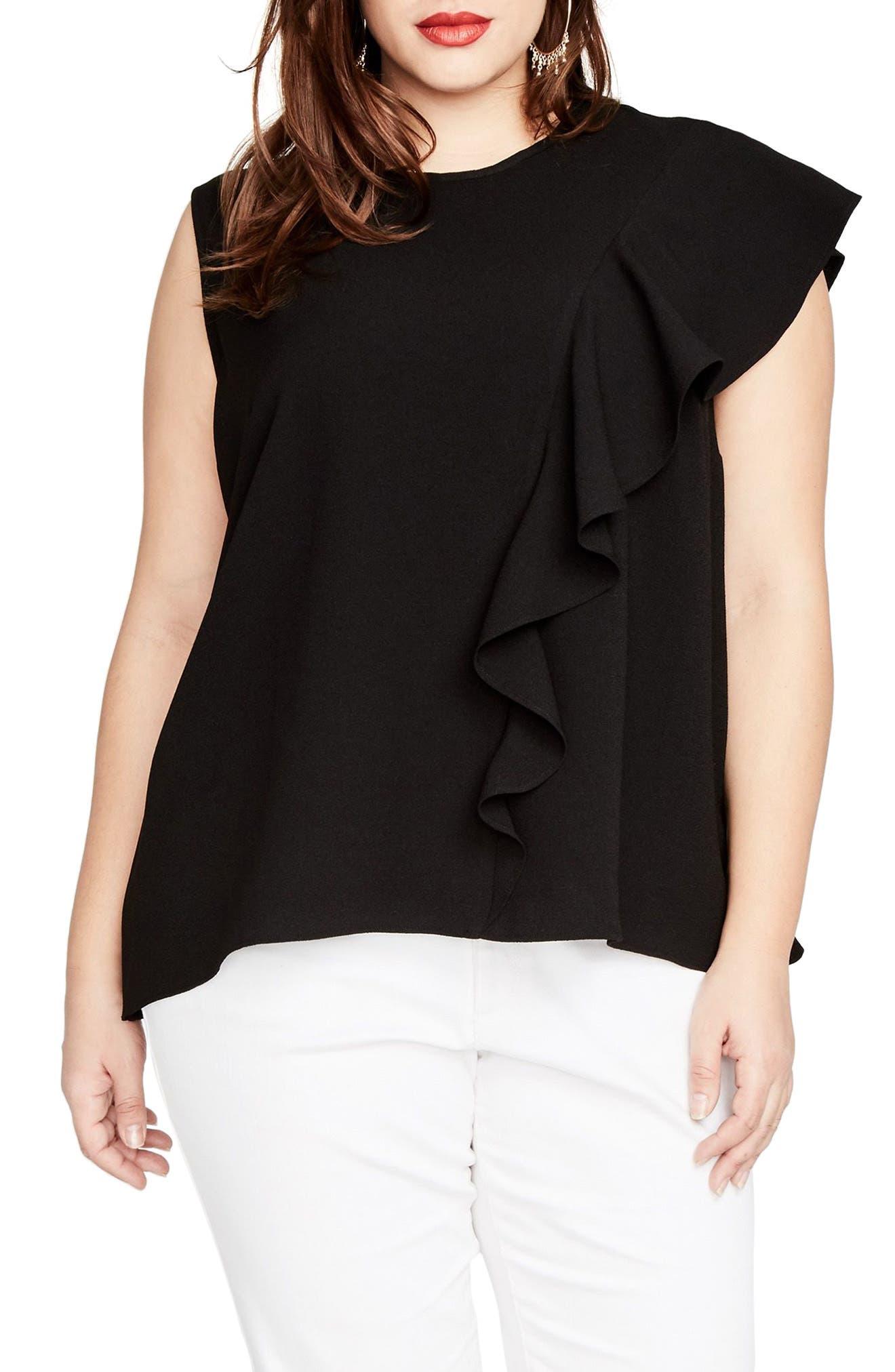 Ruffle Top,                         Main,                         color, Black