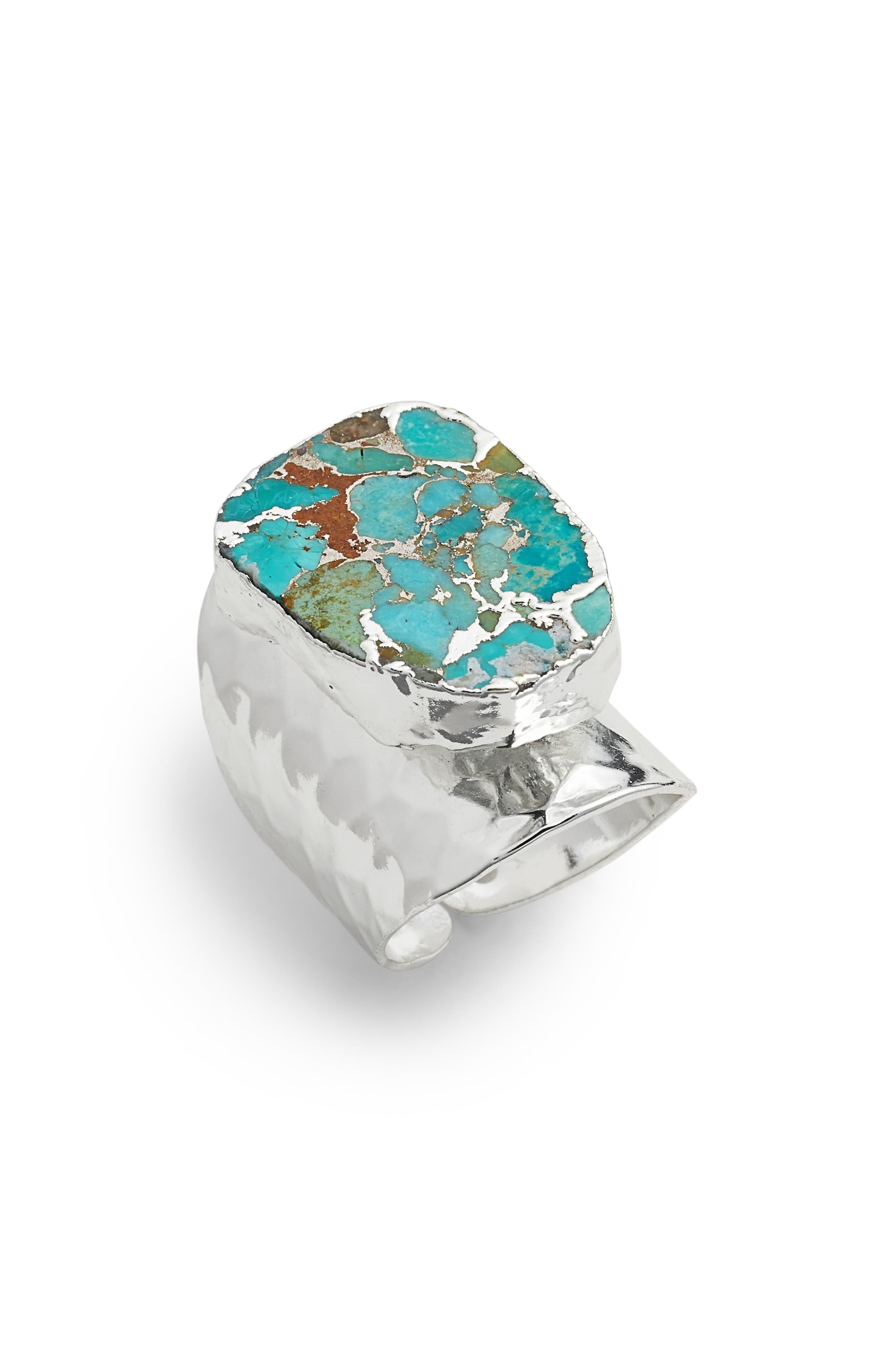 Bonitas Hammered Cuff Ring,                             Main thumbnail 1, color,                             Silver