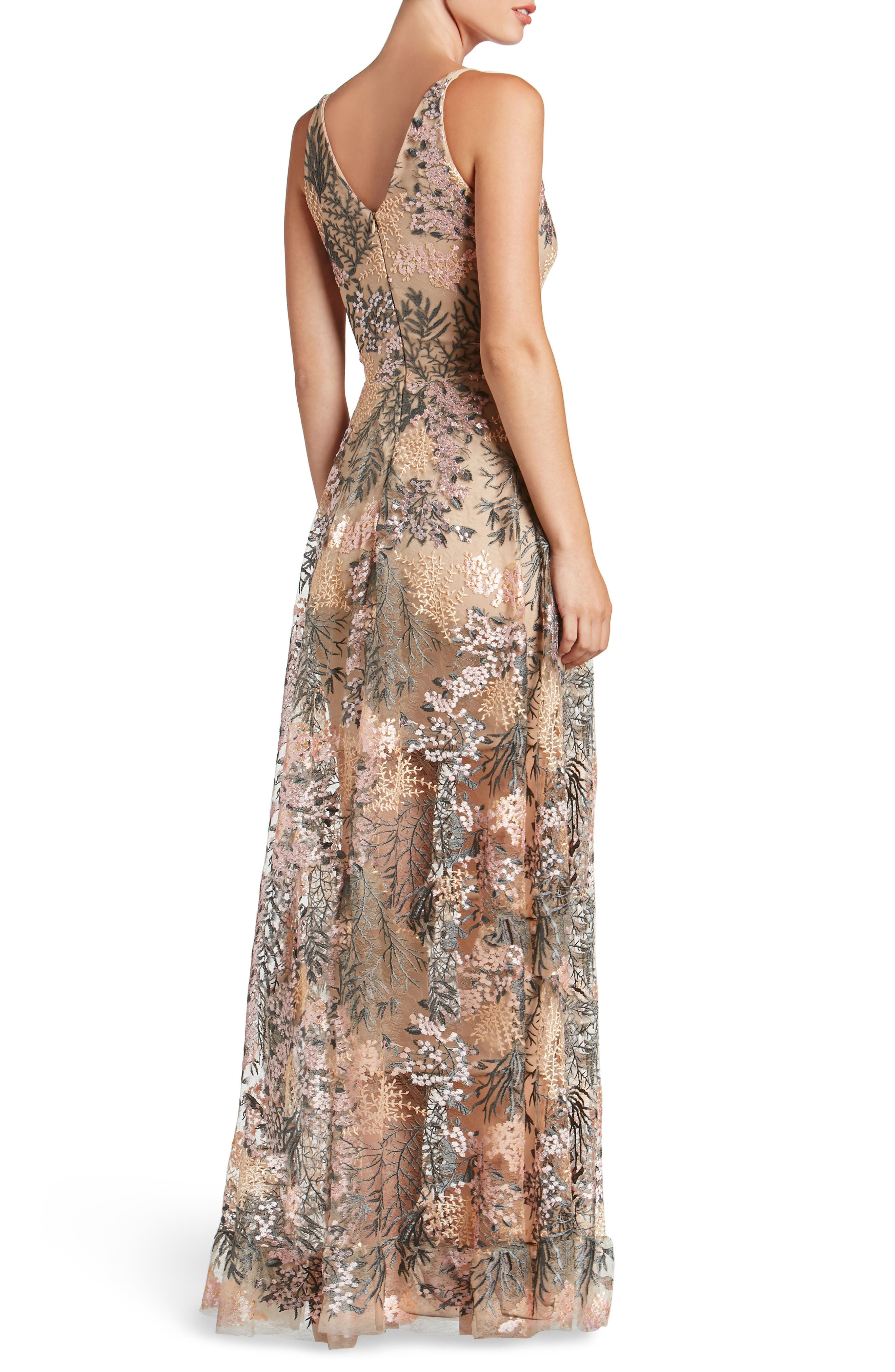 Alternate Image 2  - Dress the Population Sidney Embroidered Fit & Flare Gown