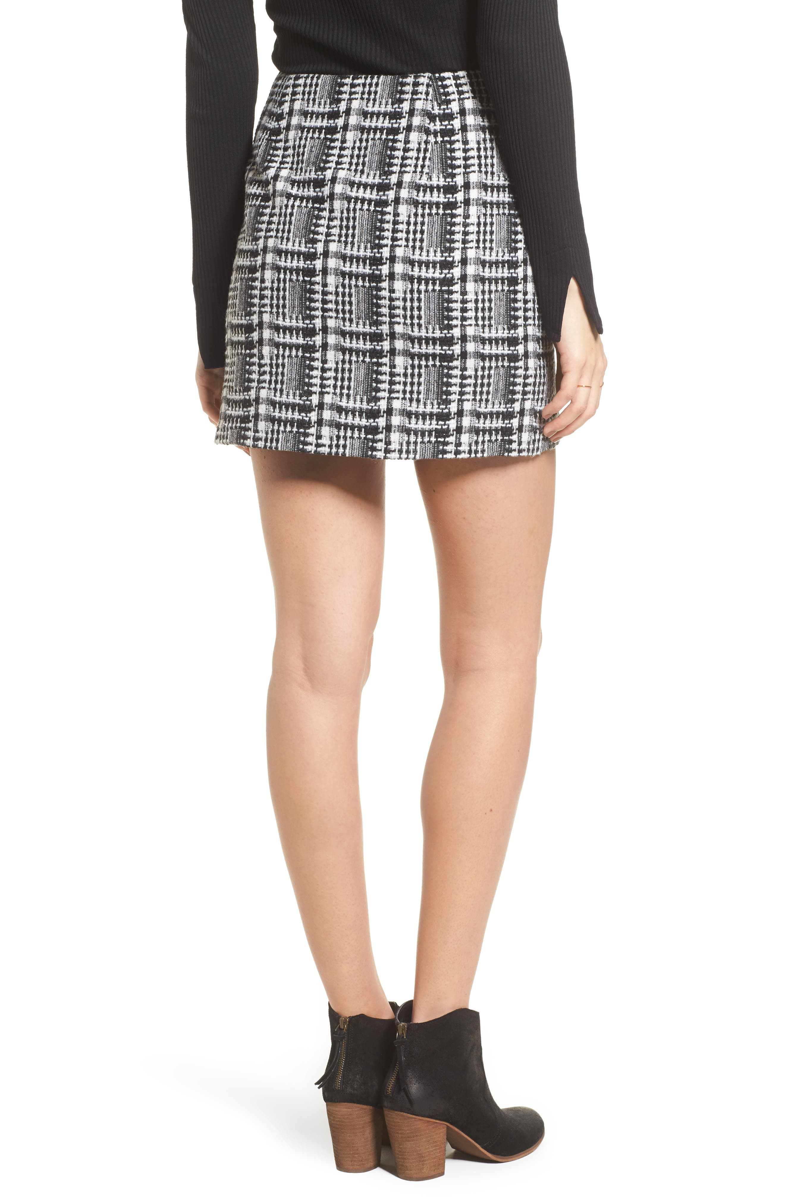 Ruffle Tweed Skirt,                             Alternate thumbnail 2, color,                             Black Plaid
