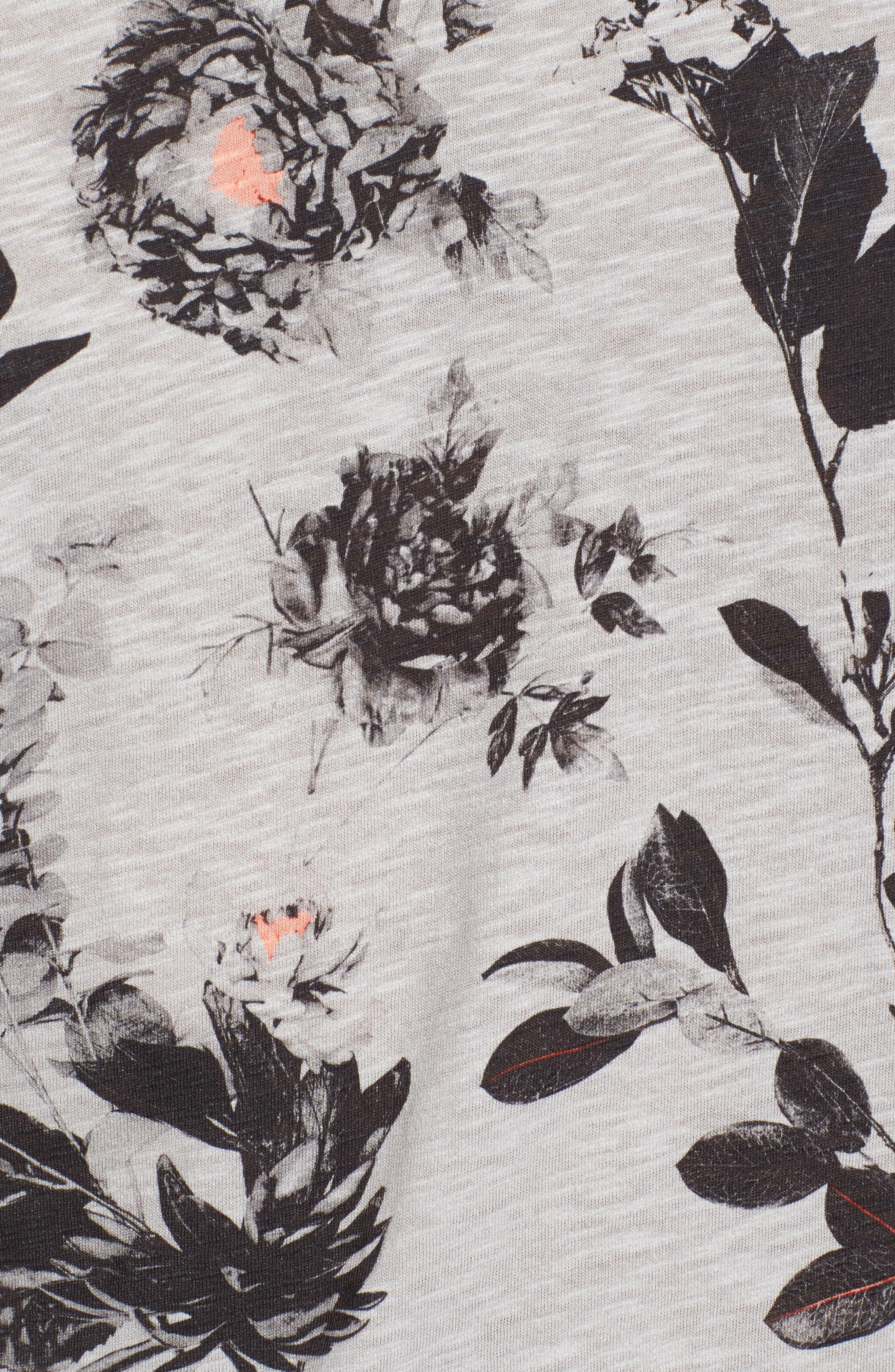 Doberma Trim Fit Floral Print T-Shirt,                             Alternate thumbnail 5, color,                             Grey