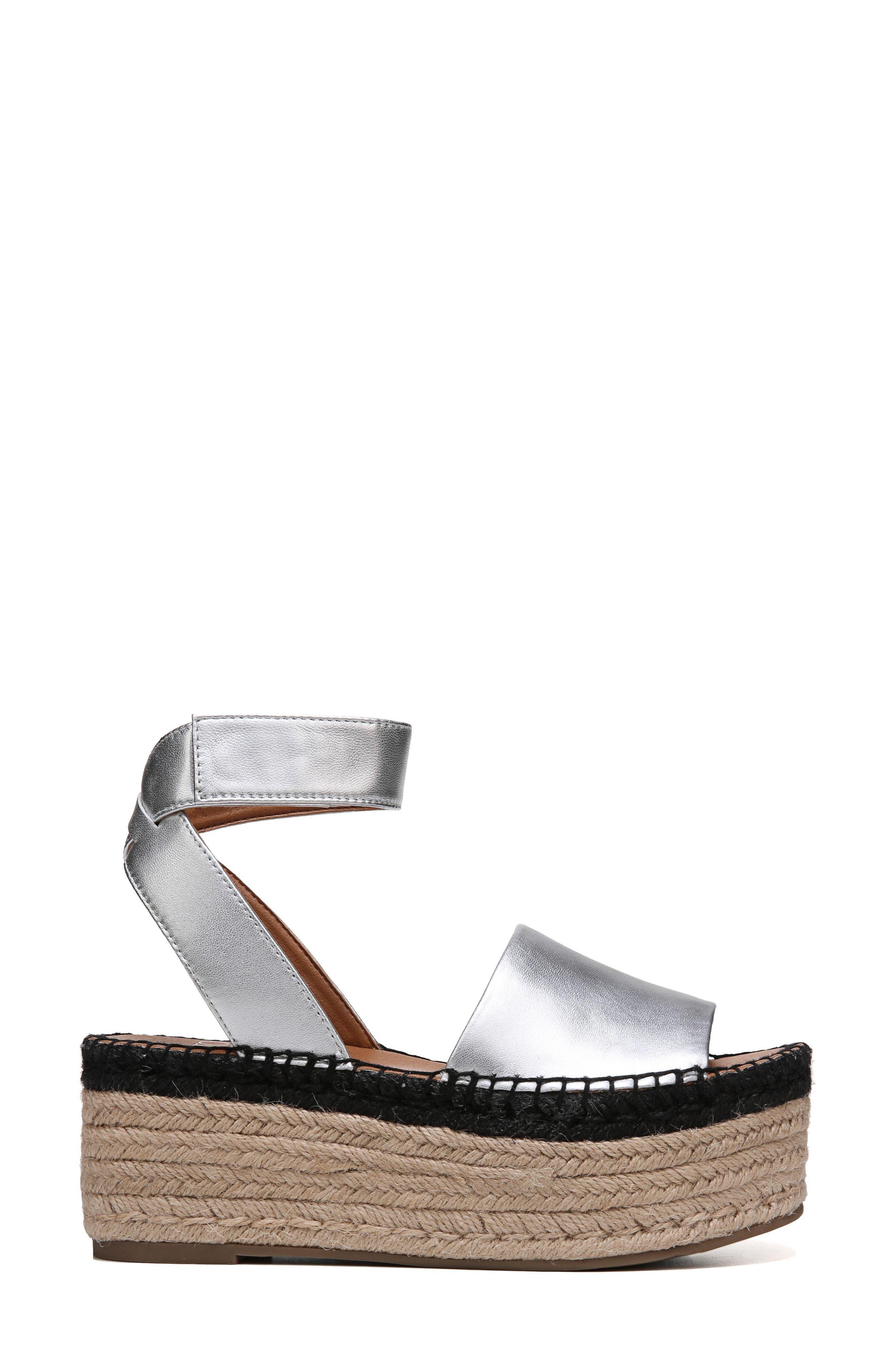 Maisi Platform Espadrille Sandal,                             Alternate thumbnail 3, color,                             Silver Leather