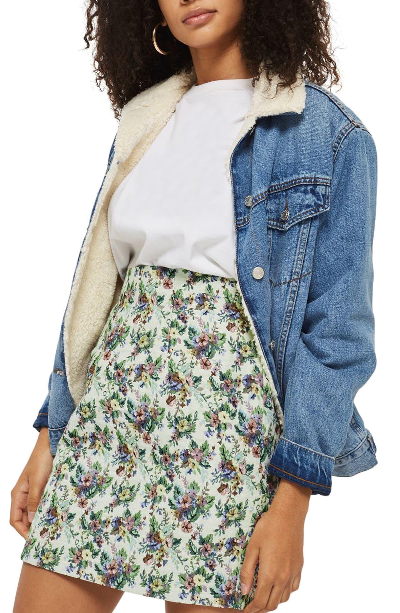 Floral Jacquard High Waist Skirt,                         Main,                         color, Ivory Multi