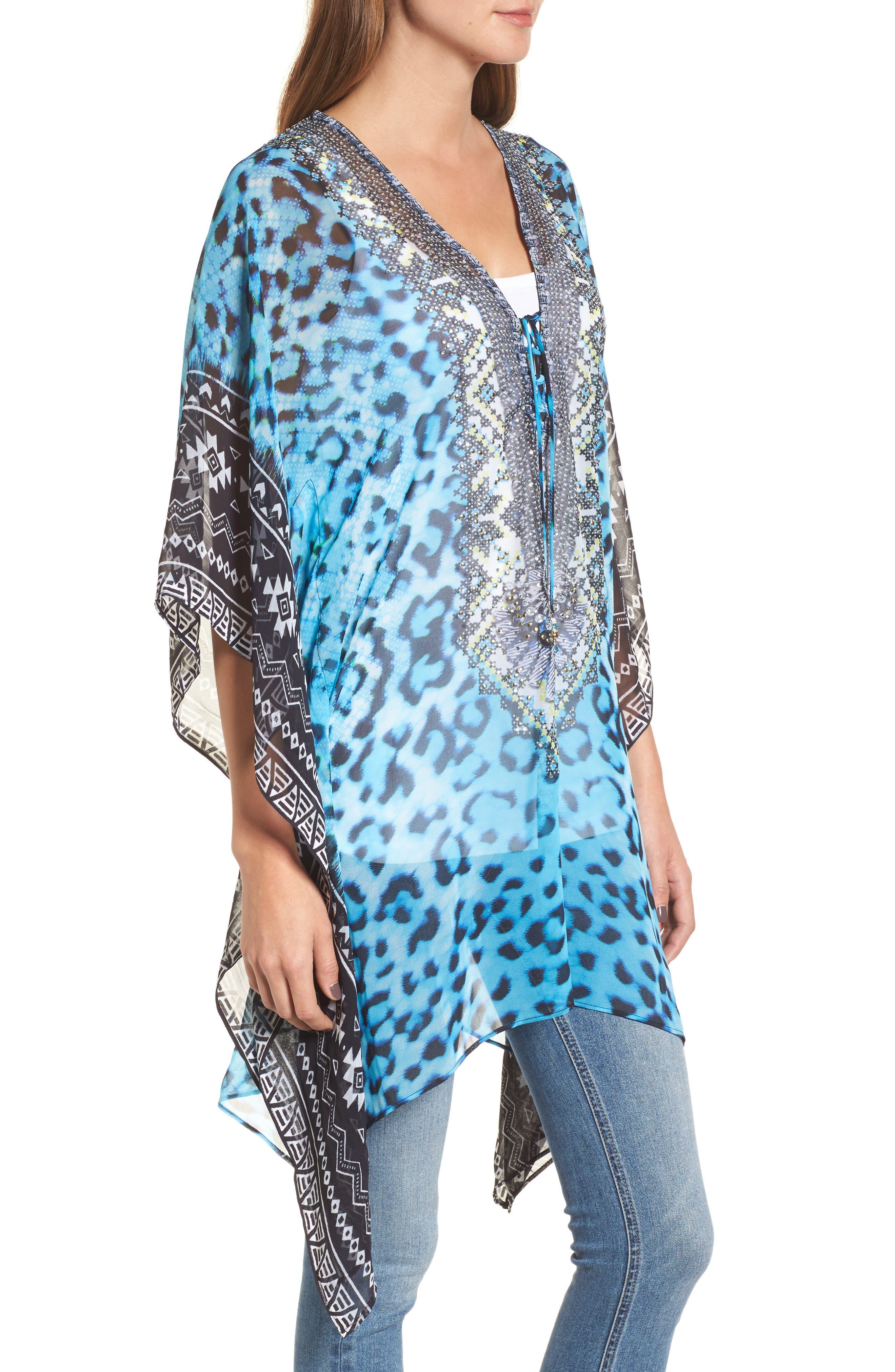 Cairo Short Kaftan,                             Alternate thumbnail 3, color,                             Blue Leopard Multi