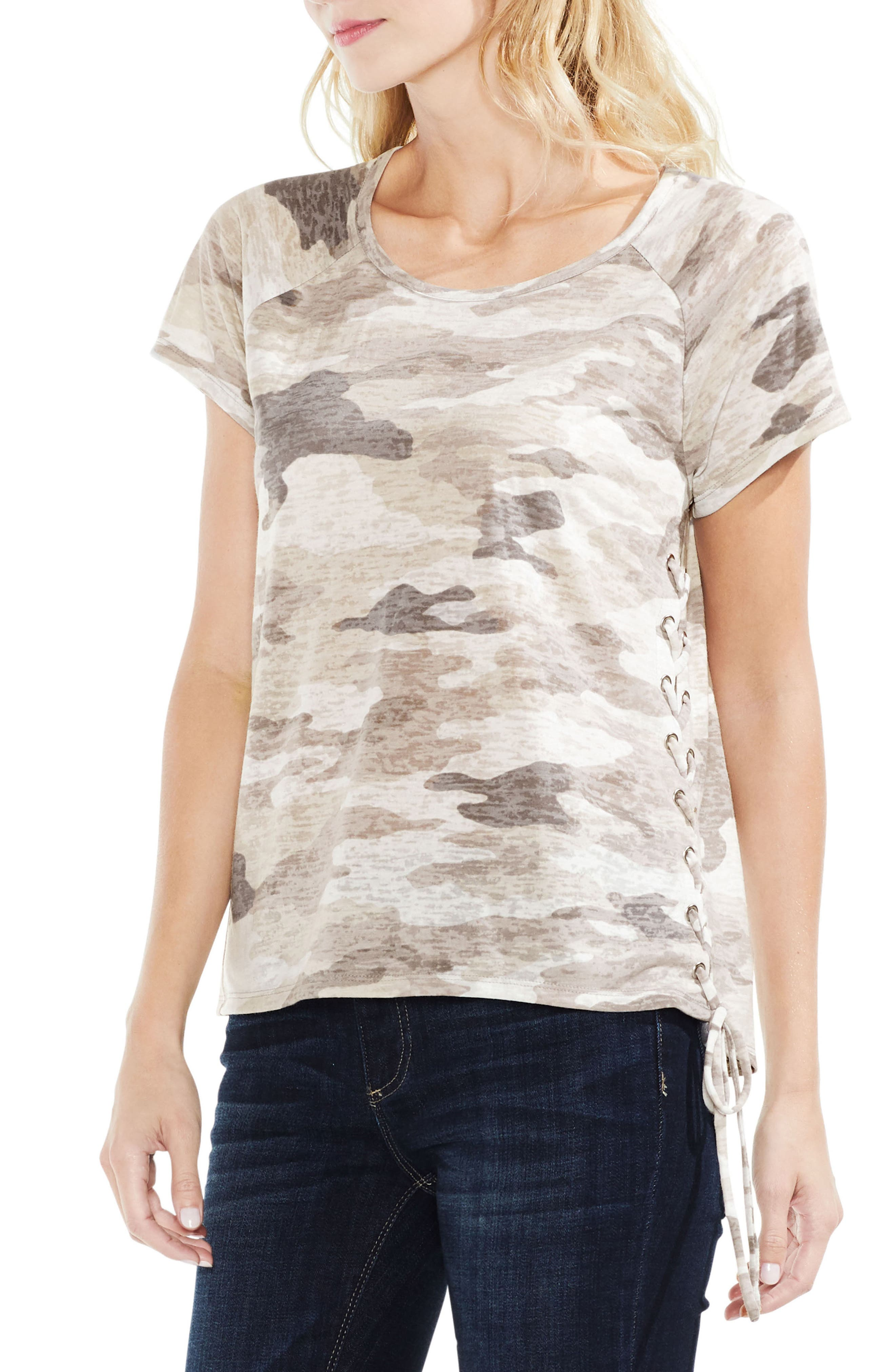 Alternate Image 1 Selected - Vince Camuto Avenue Camo Lace-Up Top