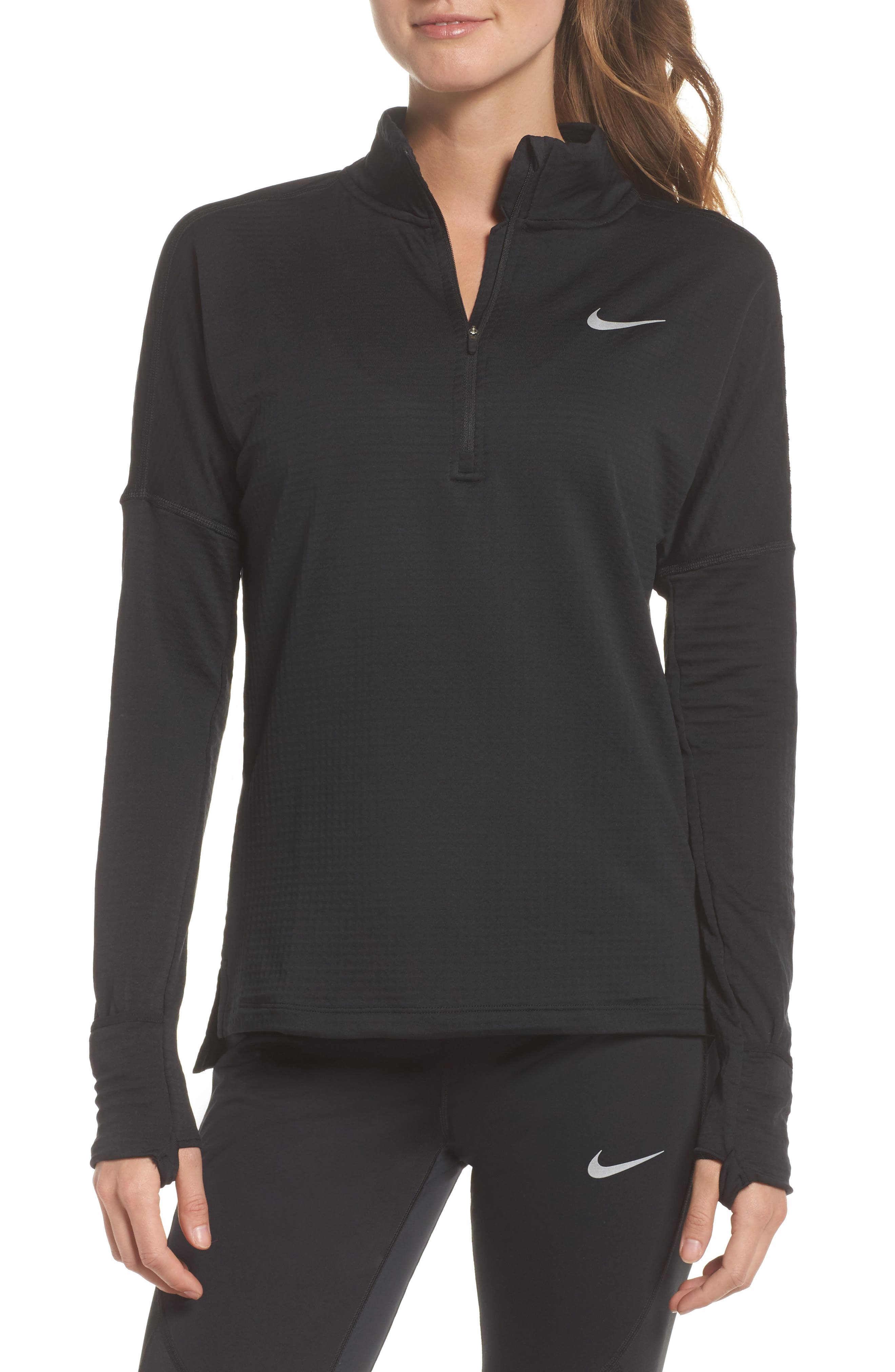 Therma Sphere Element Running Pullover Top,                         Main,                         color, Black