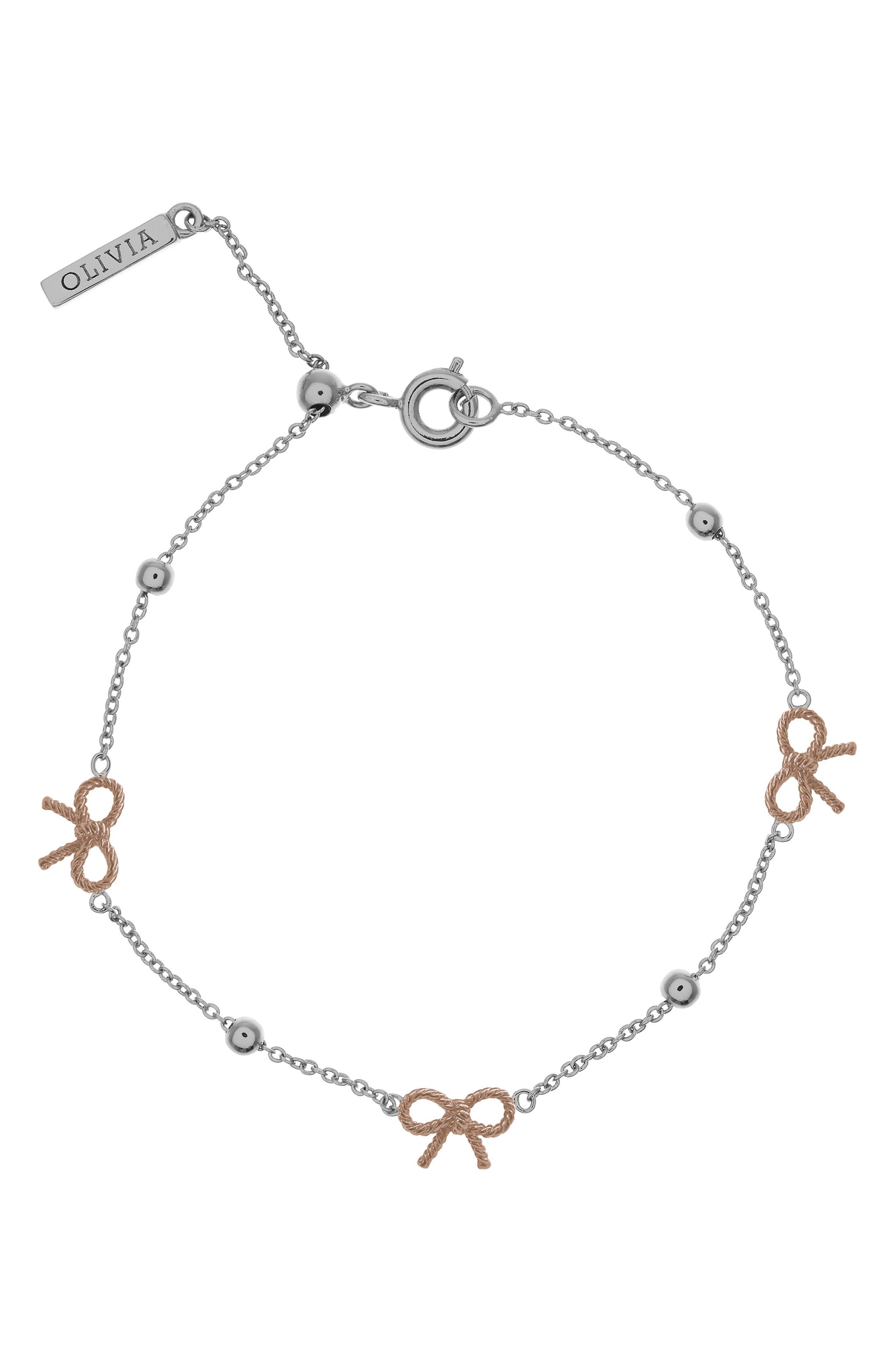 Bow Bracelet,                             Main thumbnail 1, color,                             Silver/ Rose Gold