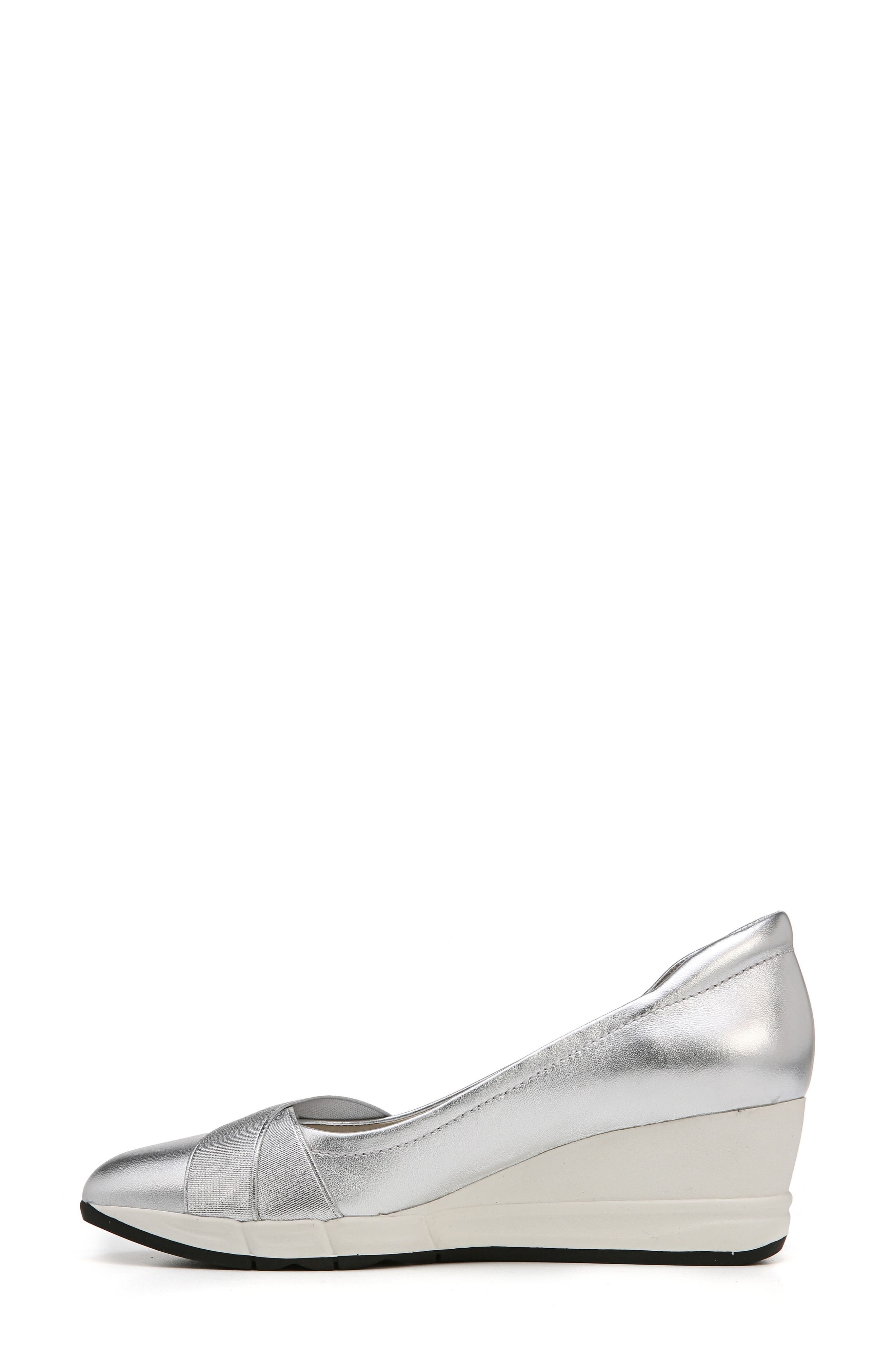 Harlyn Wedge Pump,                             Alternate thumbnail 4, color,                             Silver Leather