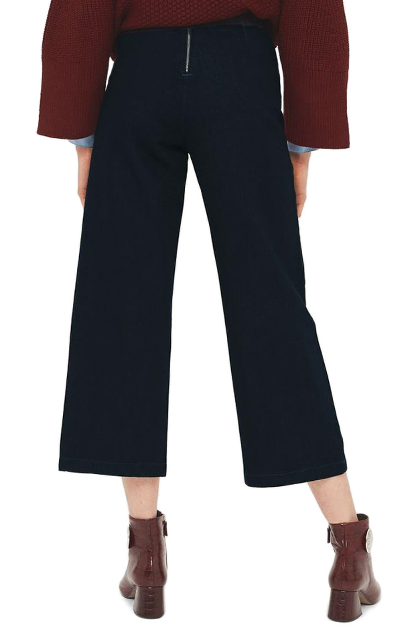 Tie Front Wide Leg Crop Jeans,                             Alternate thumbnail 2, color,                             Mid Denim