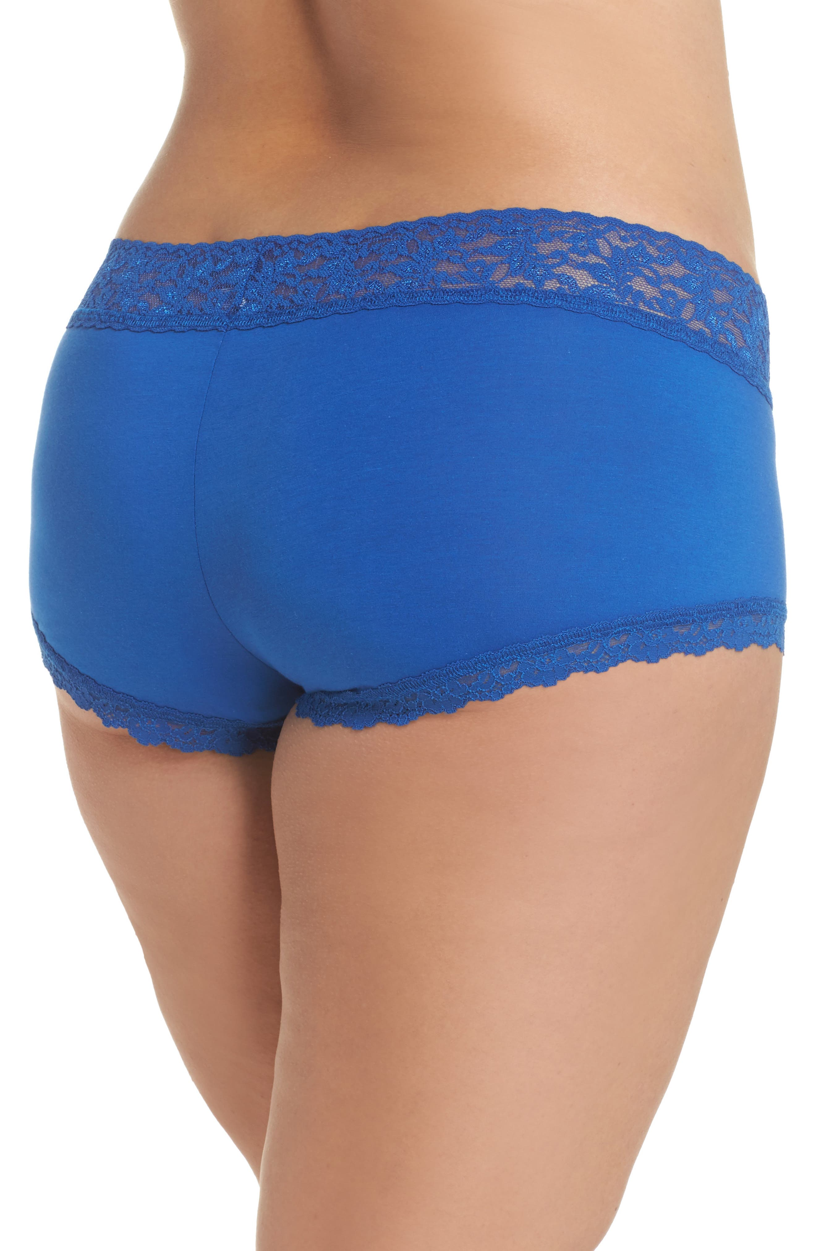 Stretch Cotton Boyshorts,                             Alternate thumbnail 2, color,                             Atlantis