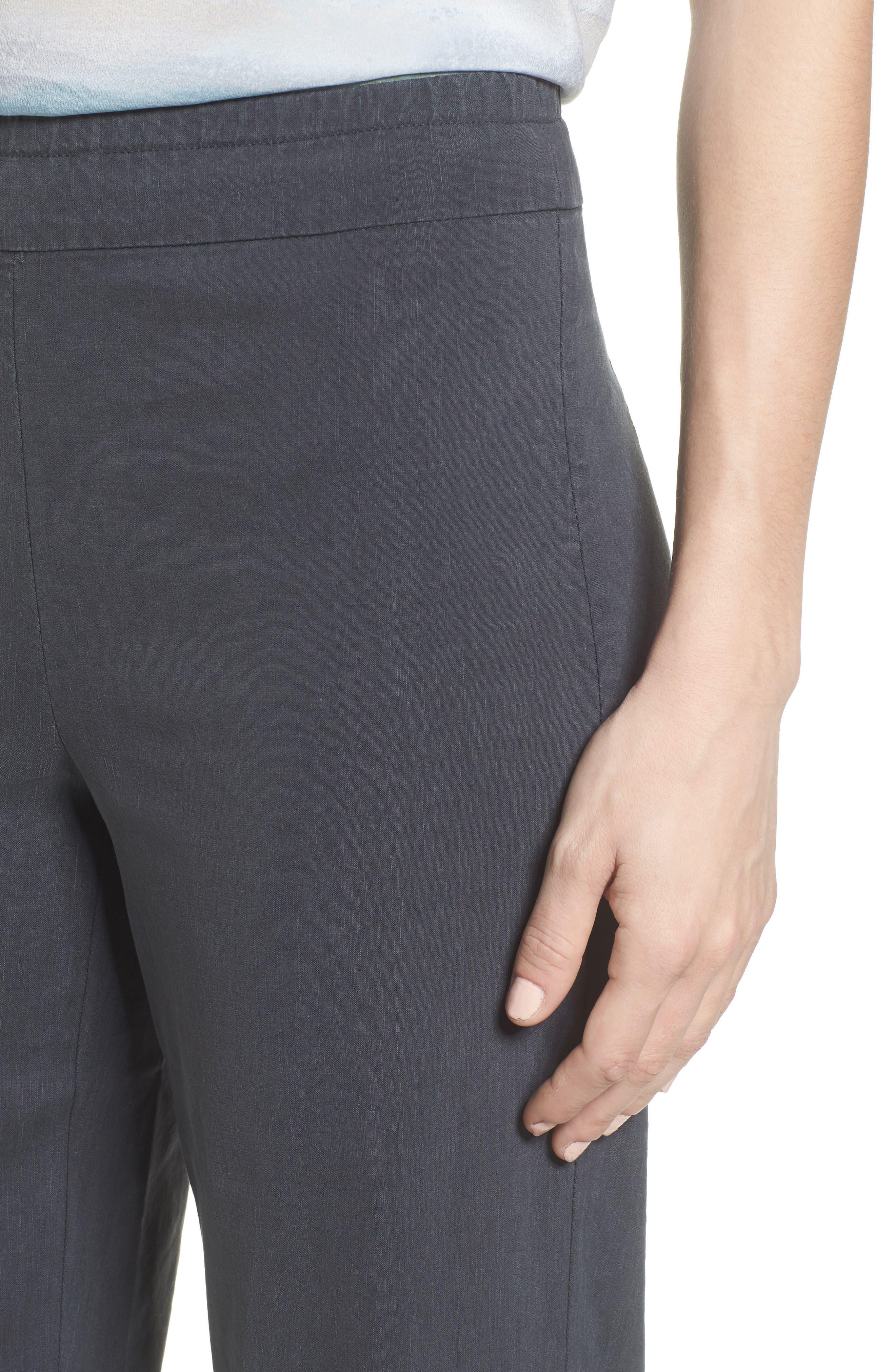 Traveling Linen Blend Stretch Pants,                             Alternate thumbnail 4, color,                             Ink