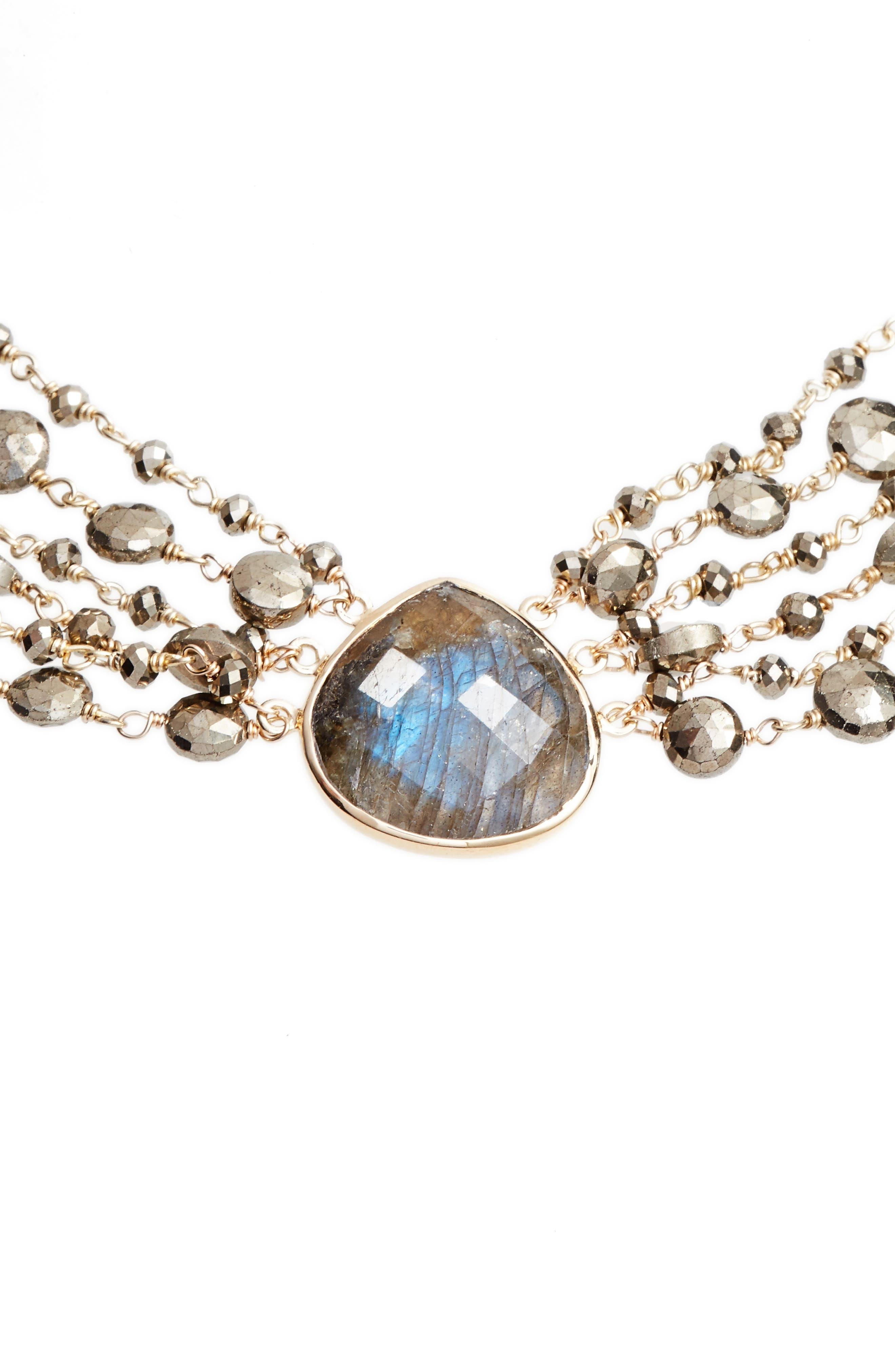 Melania Semiprecious Stone Collar Necklace,                             Alternate thumbnail 2, color,                             Labradorite
