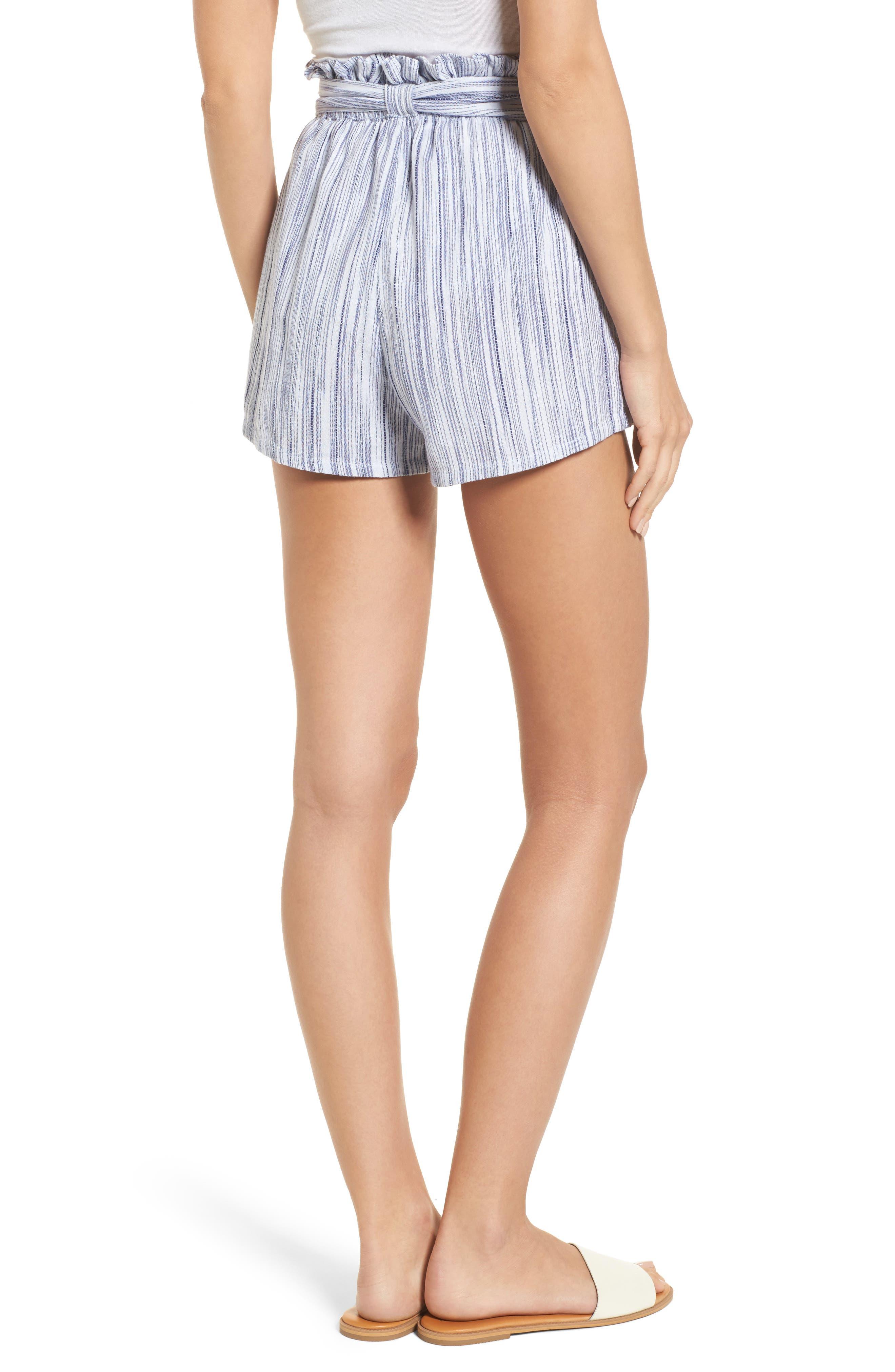 Stripe Paperbag Waist Shorts,                             Alternate thumbnail 3, color,                             Riviera Blue