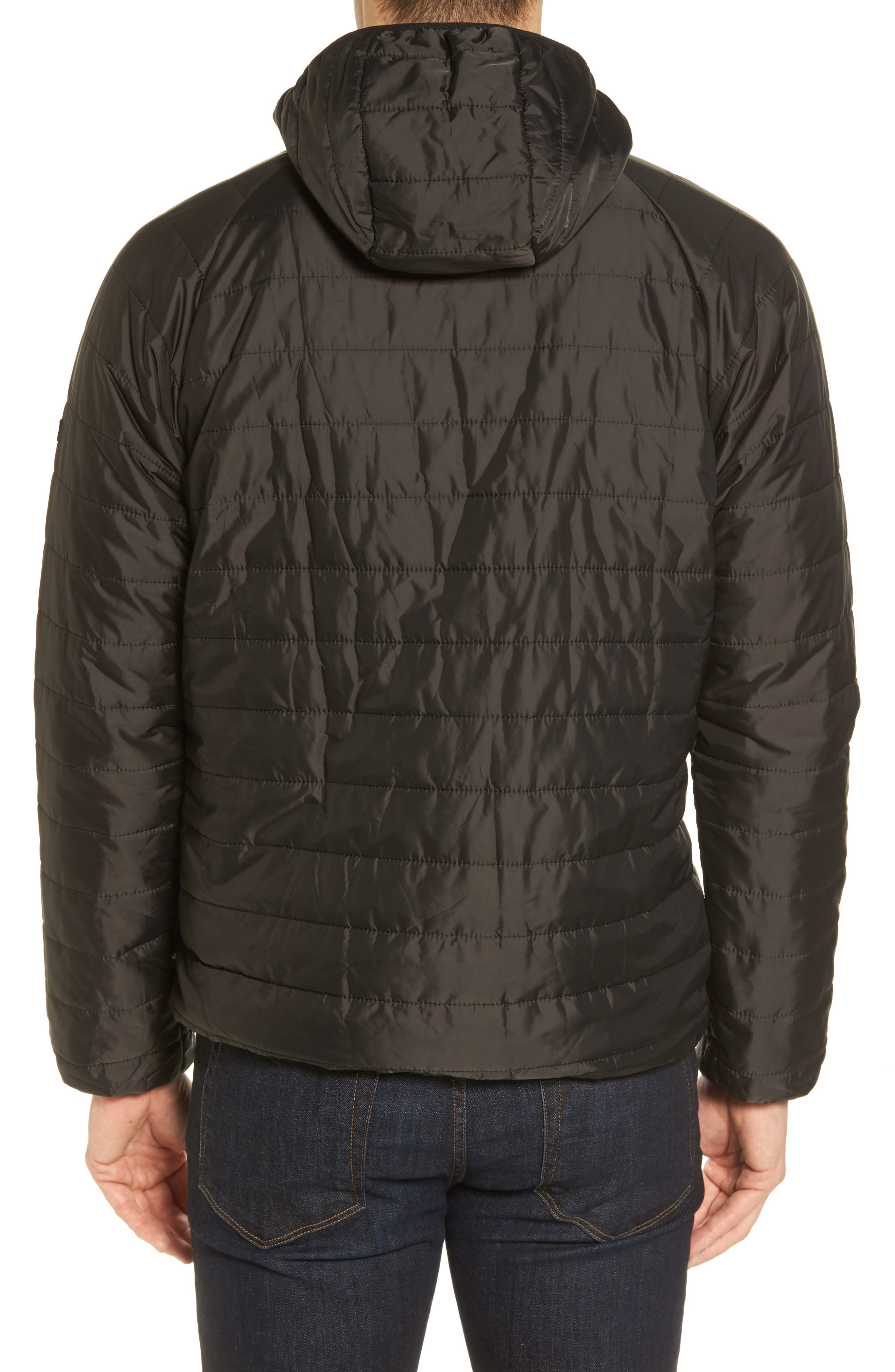 International Level Slim Fit Quilted Hooded Jacket,                             Alternate thumbnail 2, color,                             Black