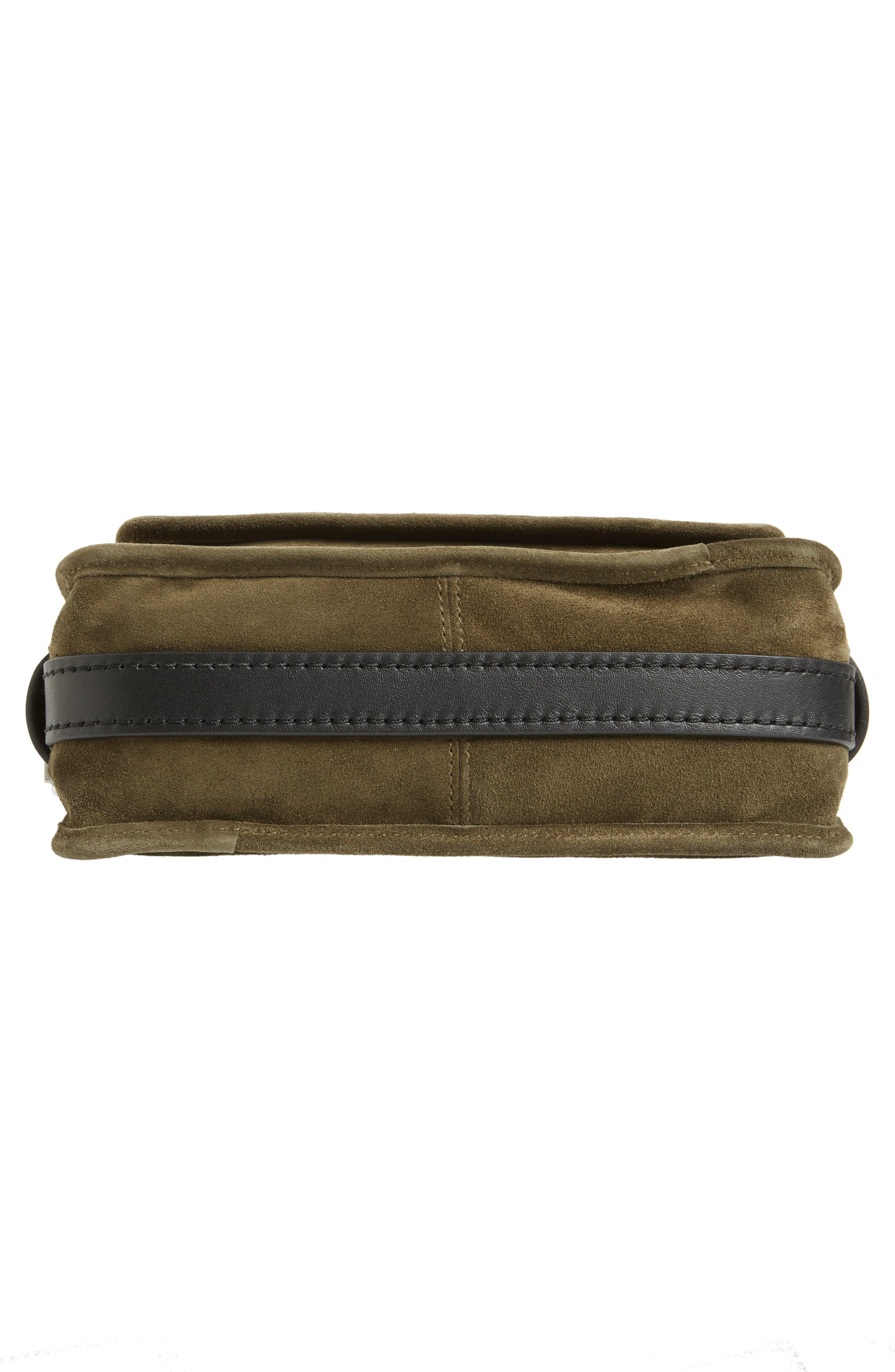 Small Leather Field Messenger Bag,                             Alternate thumbnail 6, color,                             Olive Suede
