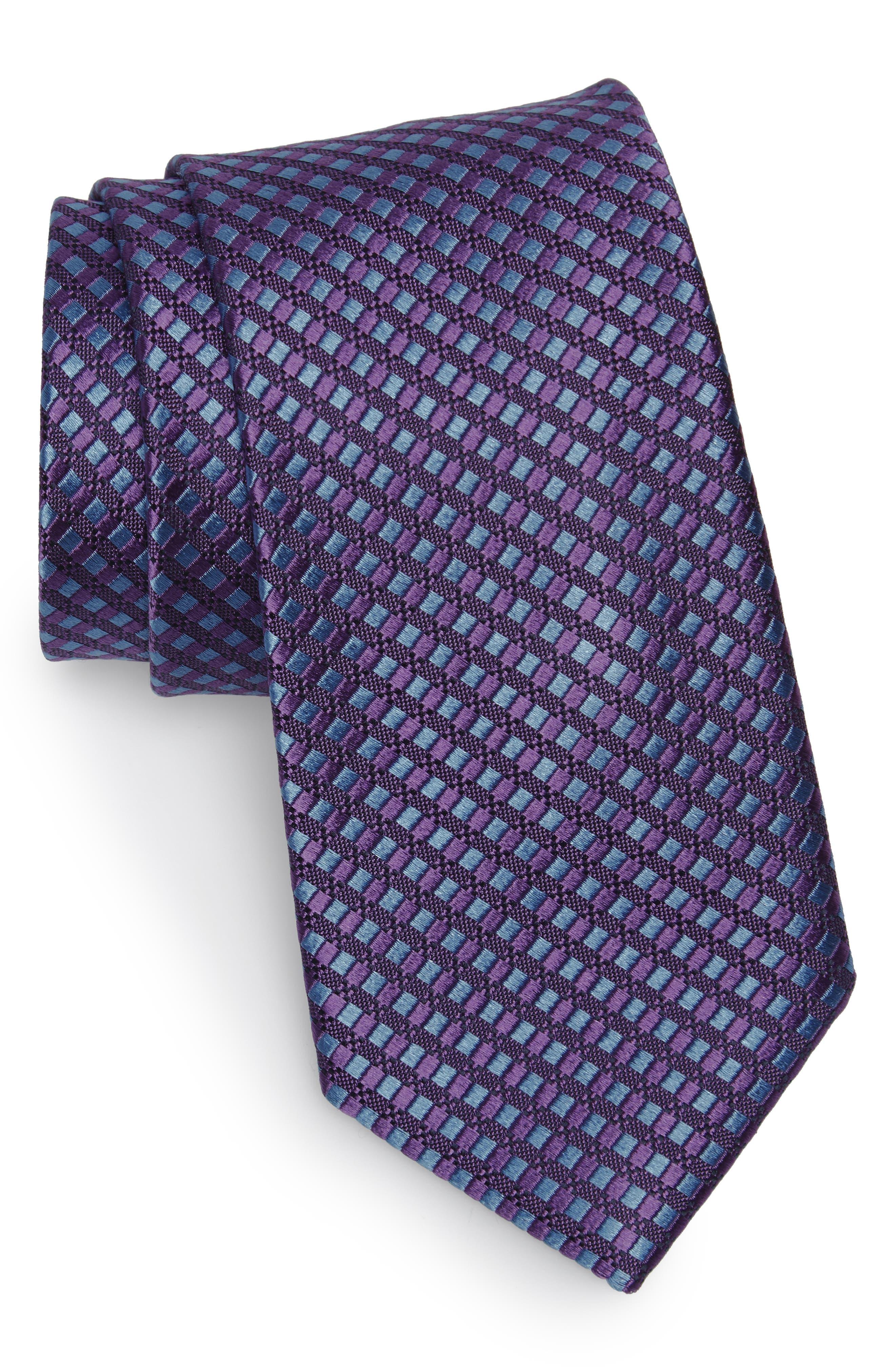 Nathan Neat Silk Tie,                         Main,                         color, Purple