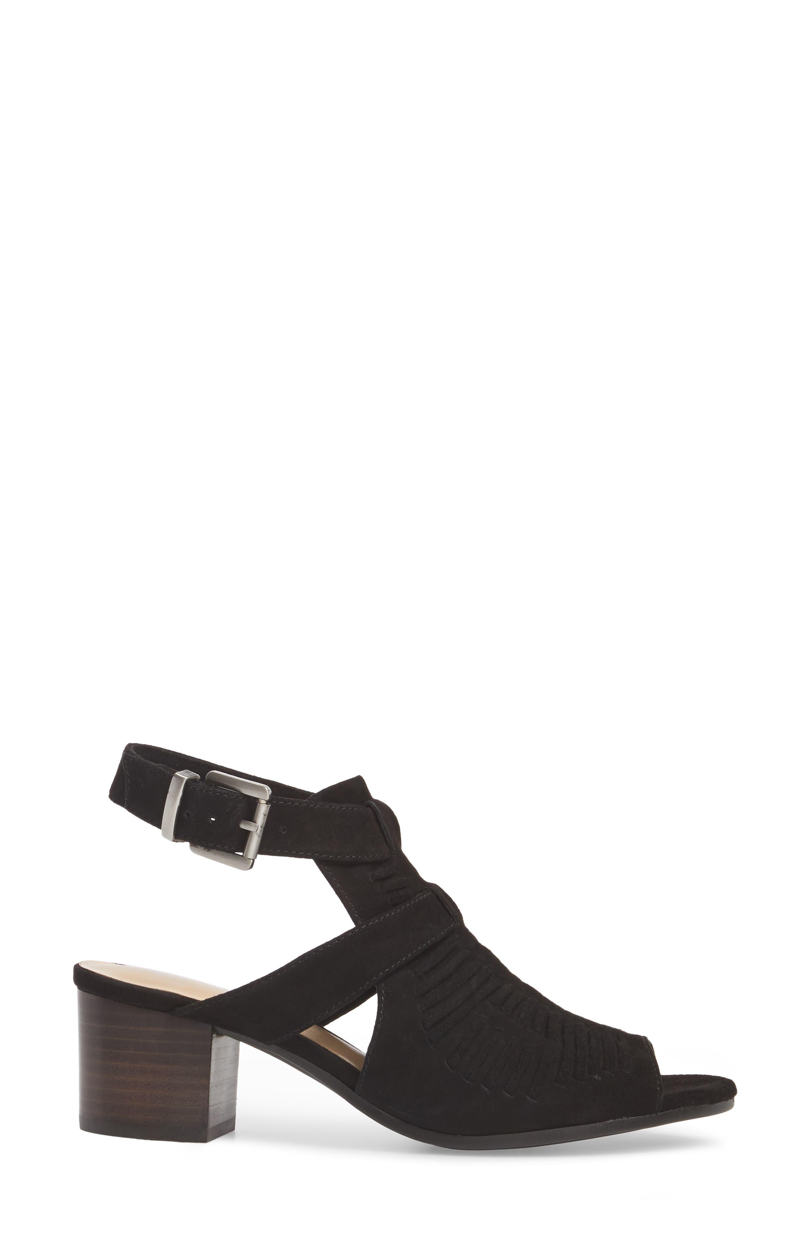 Finley Ankle Strap Sandal,                             Alternate thumbnail 3, color,                             Black Suede