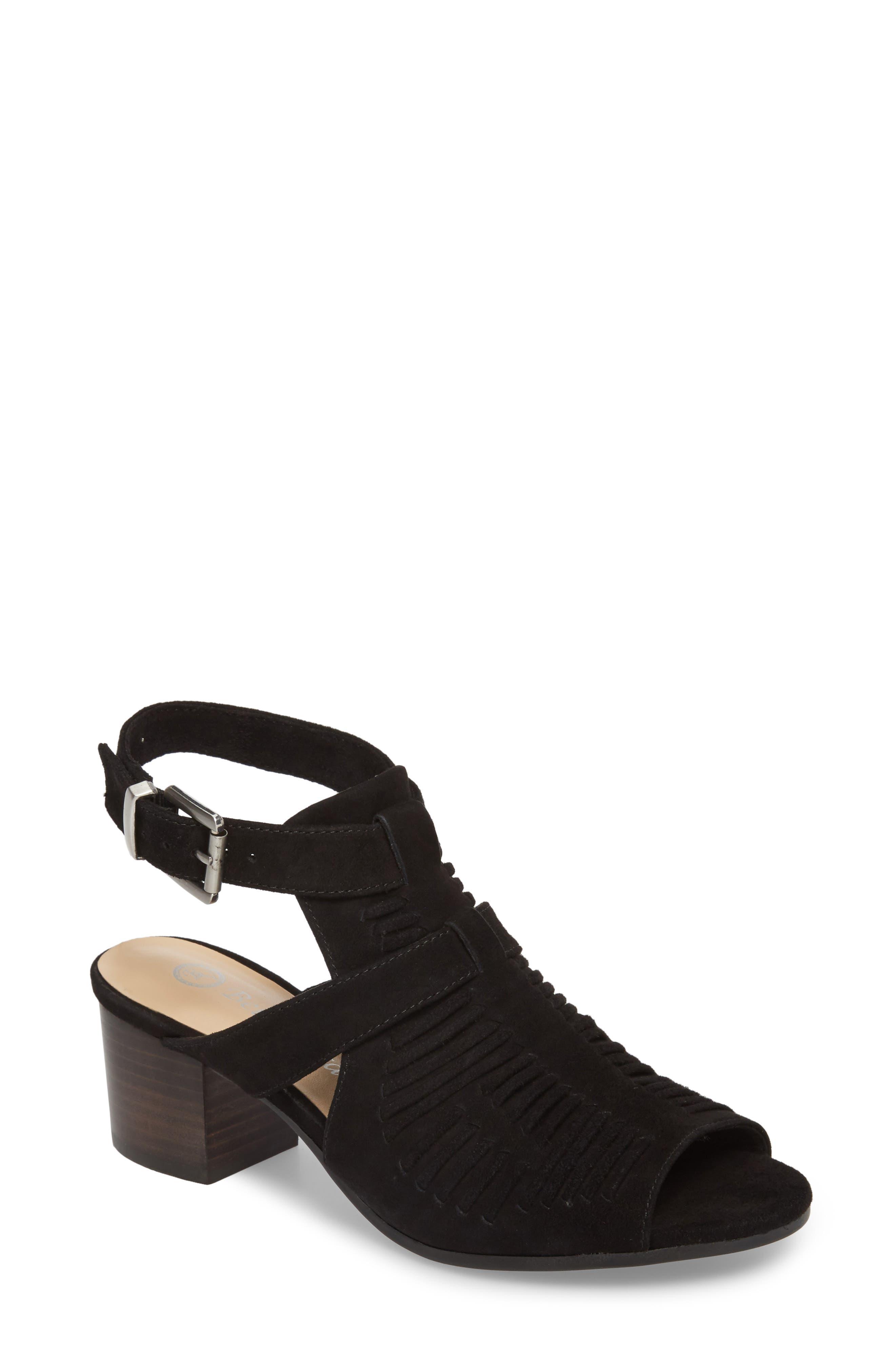 Finley Ankle Strap Sandal,                             Main thumbnail 1, color,                             Black Suede