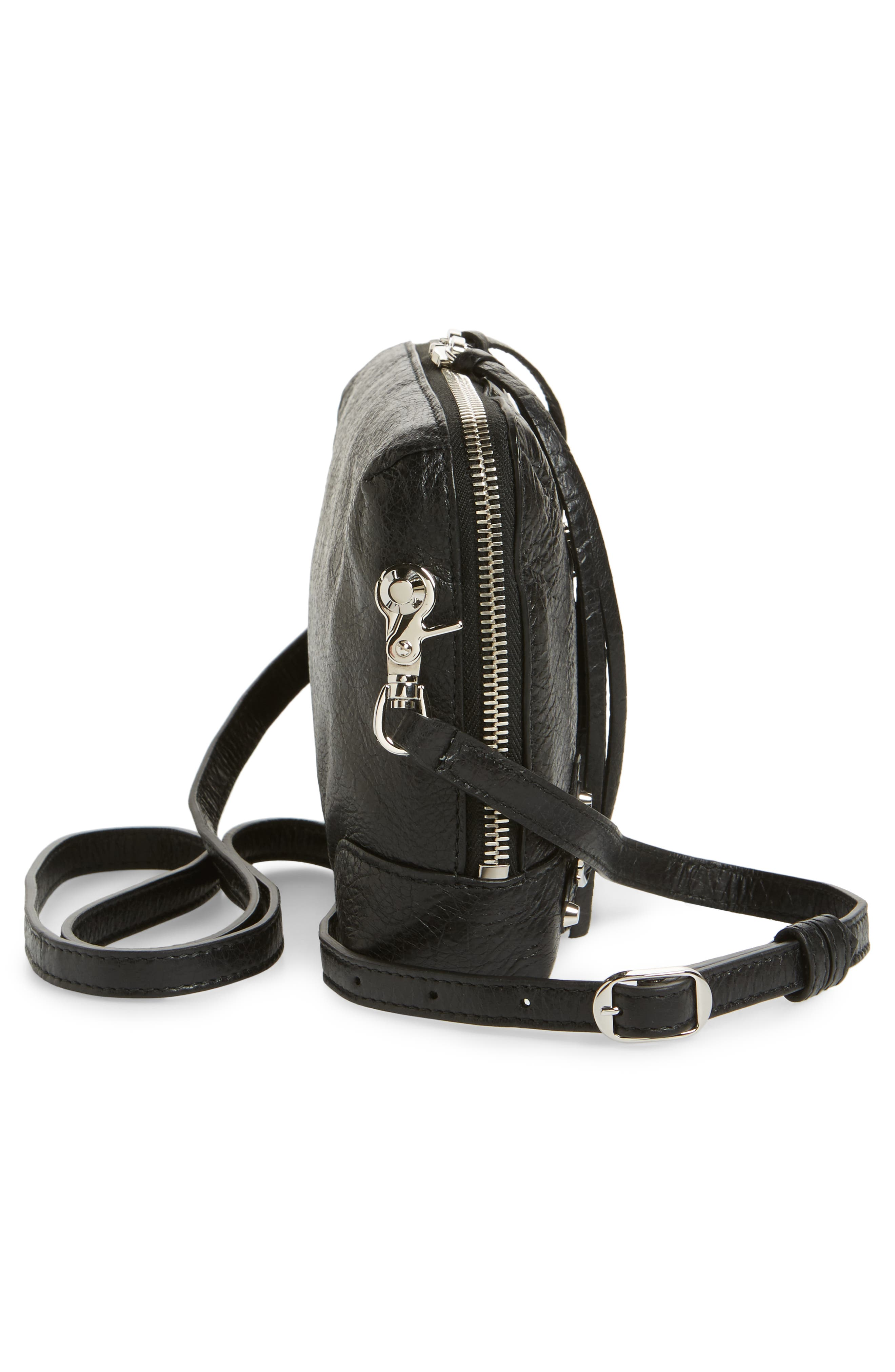 Extra Small Classic Reporter Leather Shoulder Bag,                             Alternate thumbnail 5, color,                             Noir