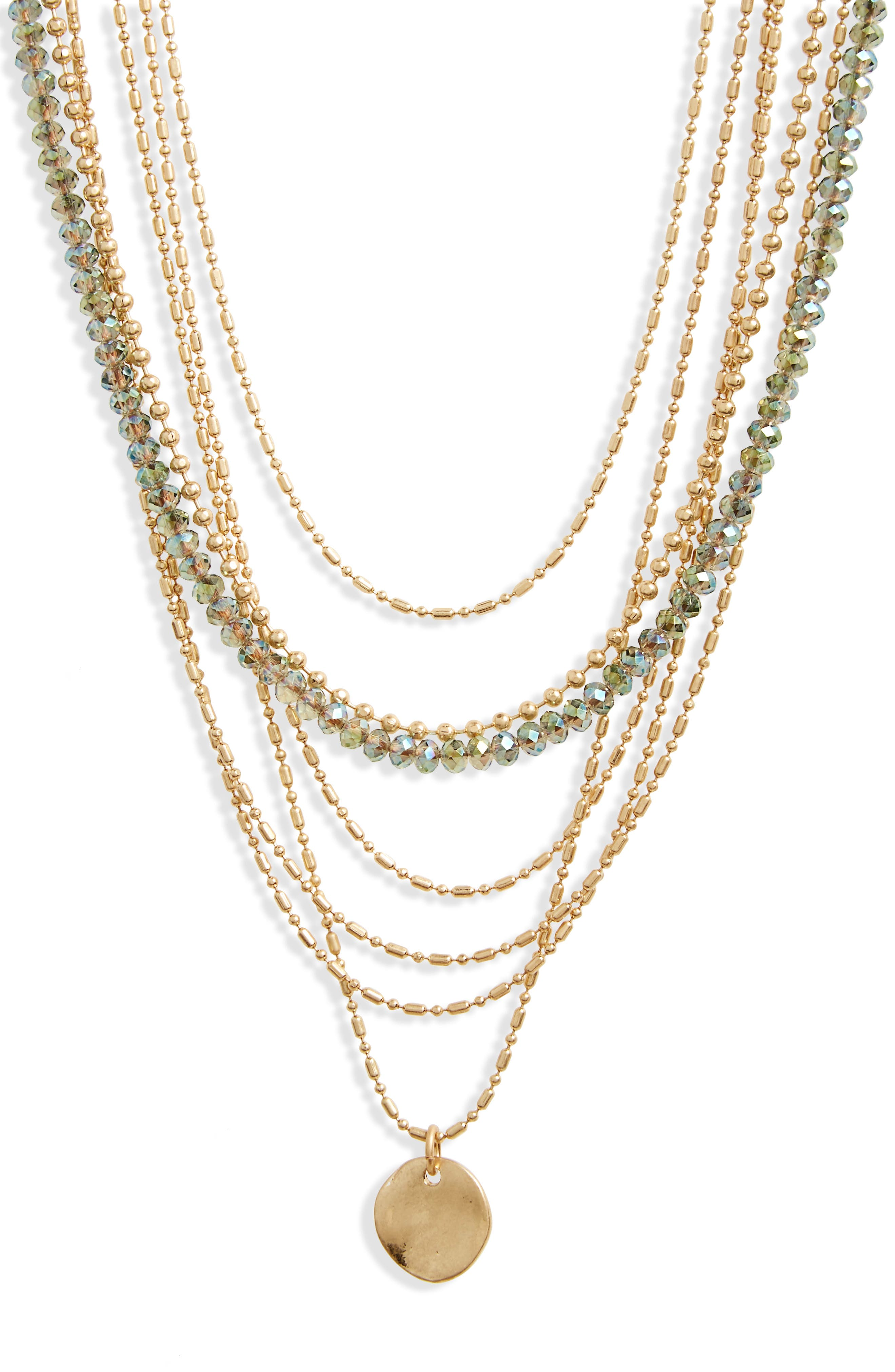 Seven-Layer Bead Necklace,                             Alternate thumbnail 2, color,                             Green- Gold