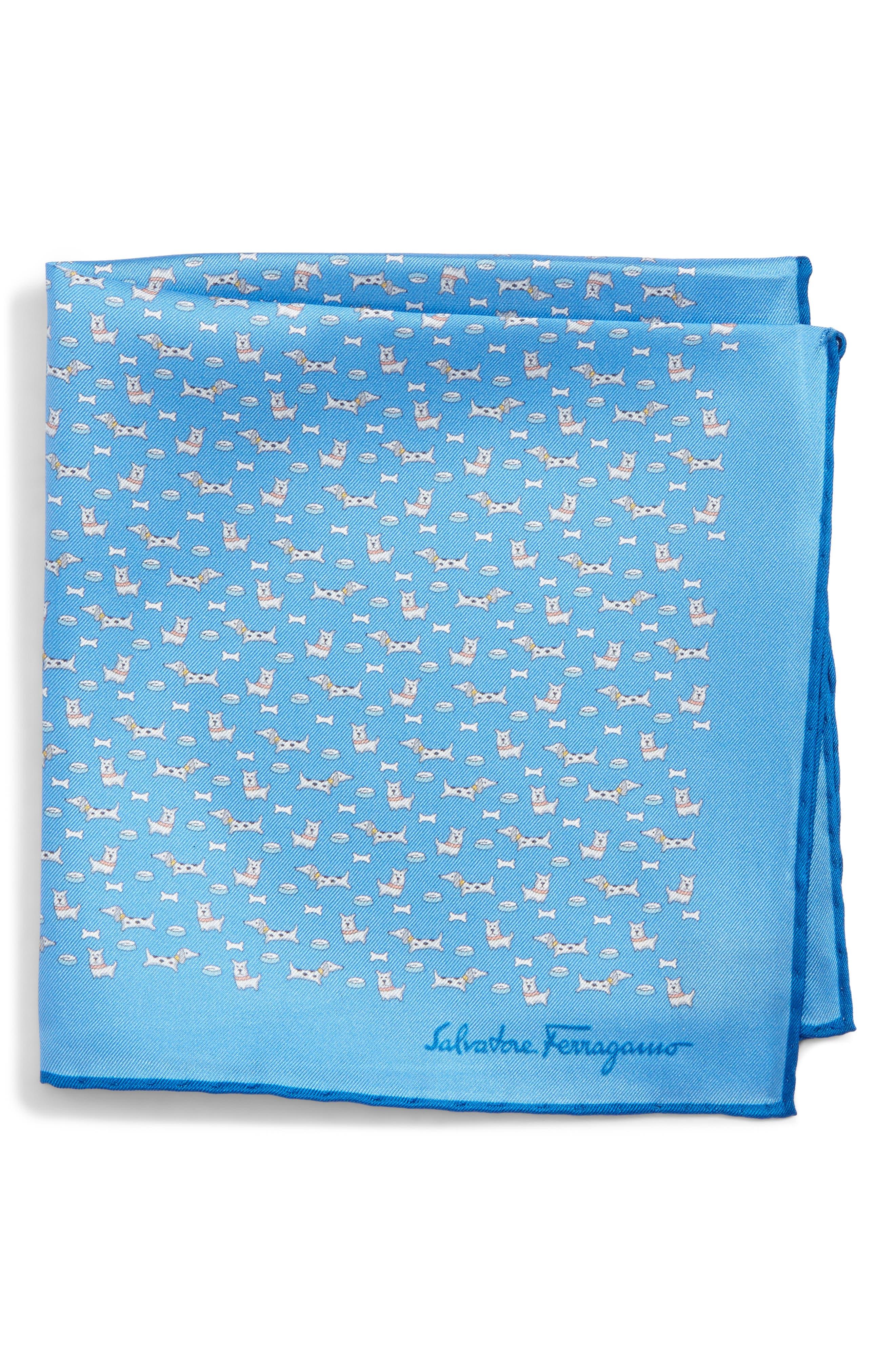 Edo Dog Silk Pocket Square,                             Main thumbnail 1, color,                             Bright Blue