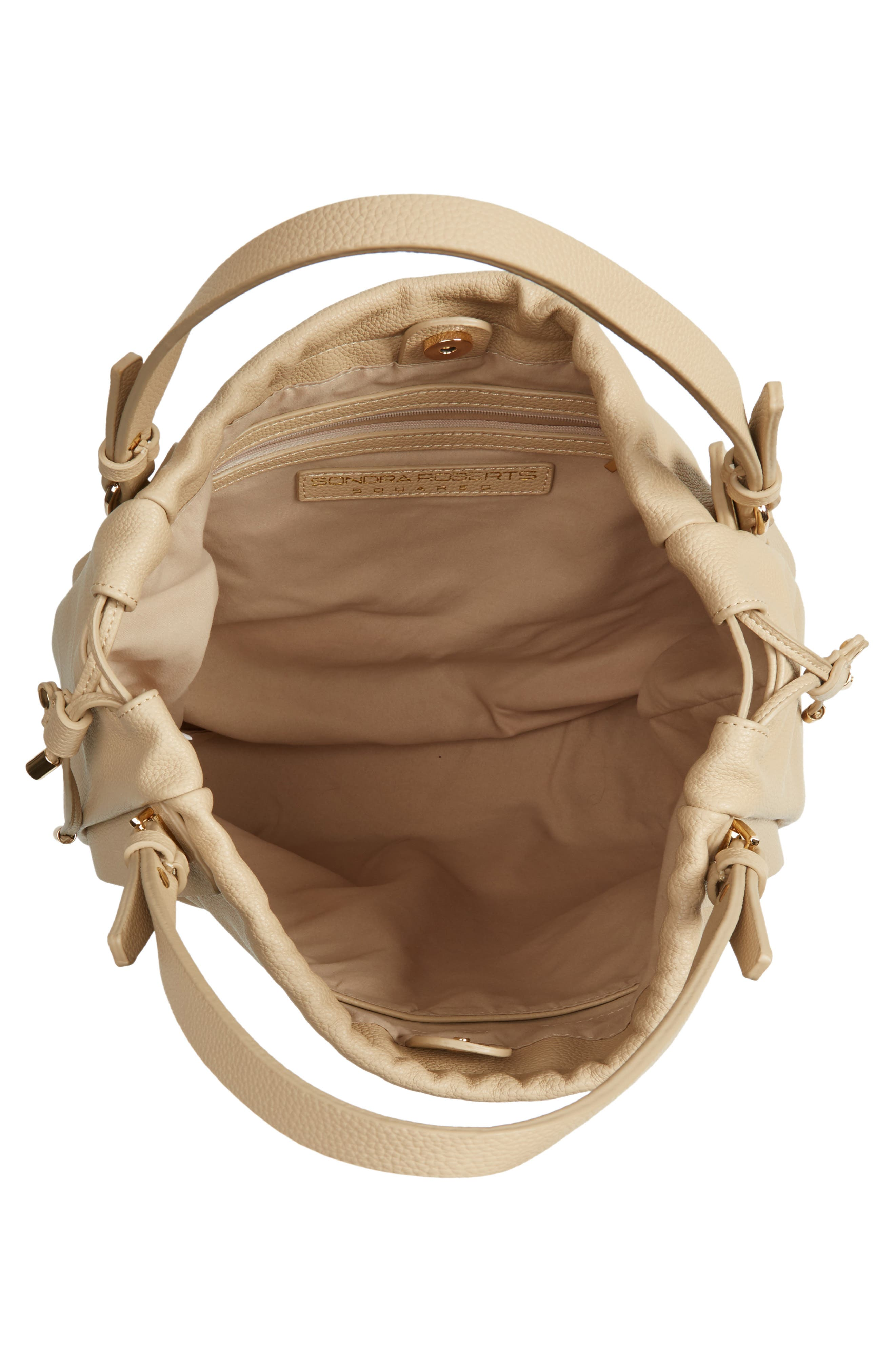 Faux Leather Drawstring Tote,                             Alternate thumbnail 4, color,                             Taupe