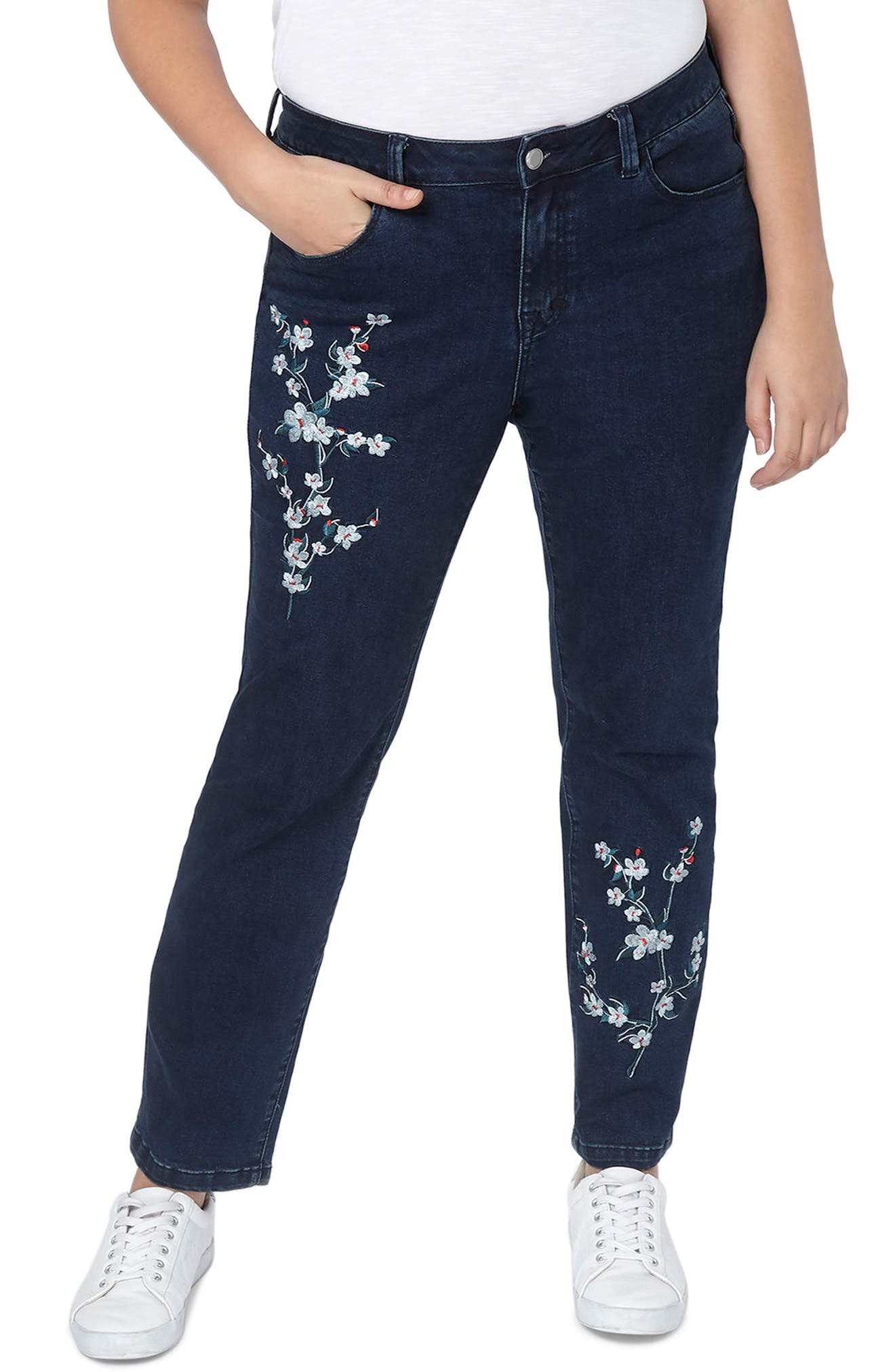 Embroidered Straight Leg Jeans,                             Main thumbnail 1, color,                             Denim
