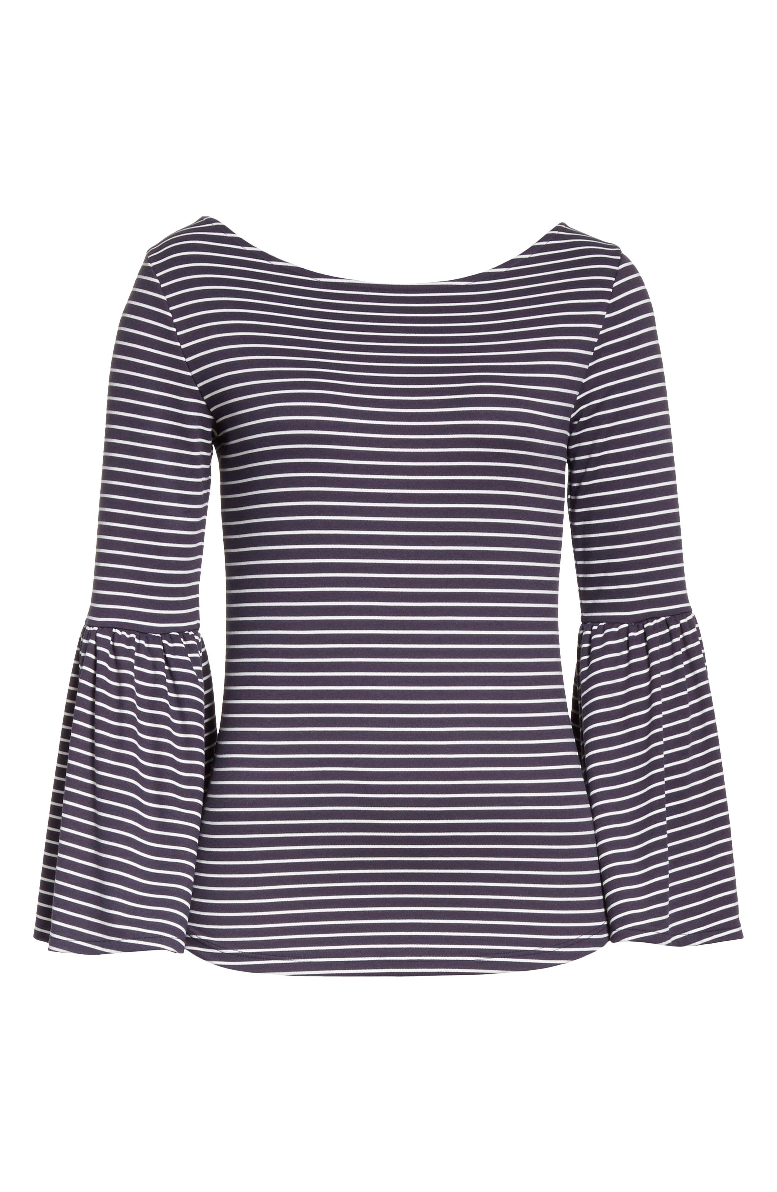 Stripe Bell Sleeve Top,                             Alternate thumbnail 7, color,                             Dark Navy Multi