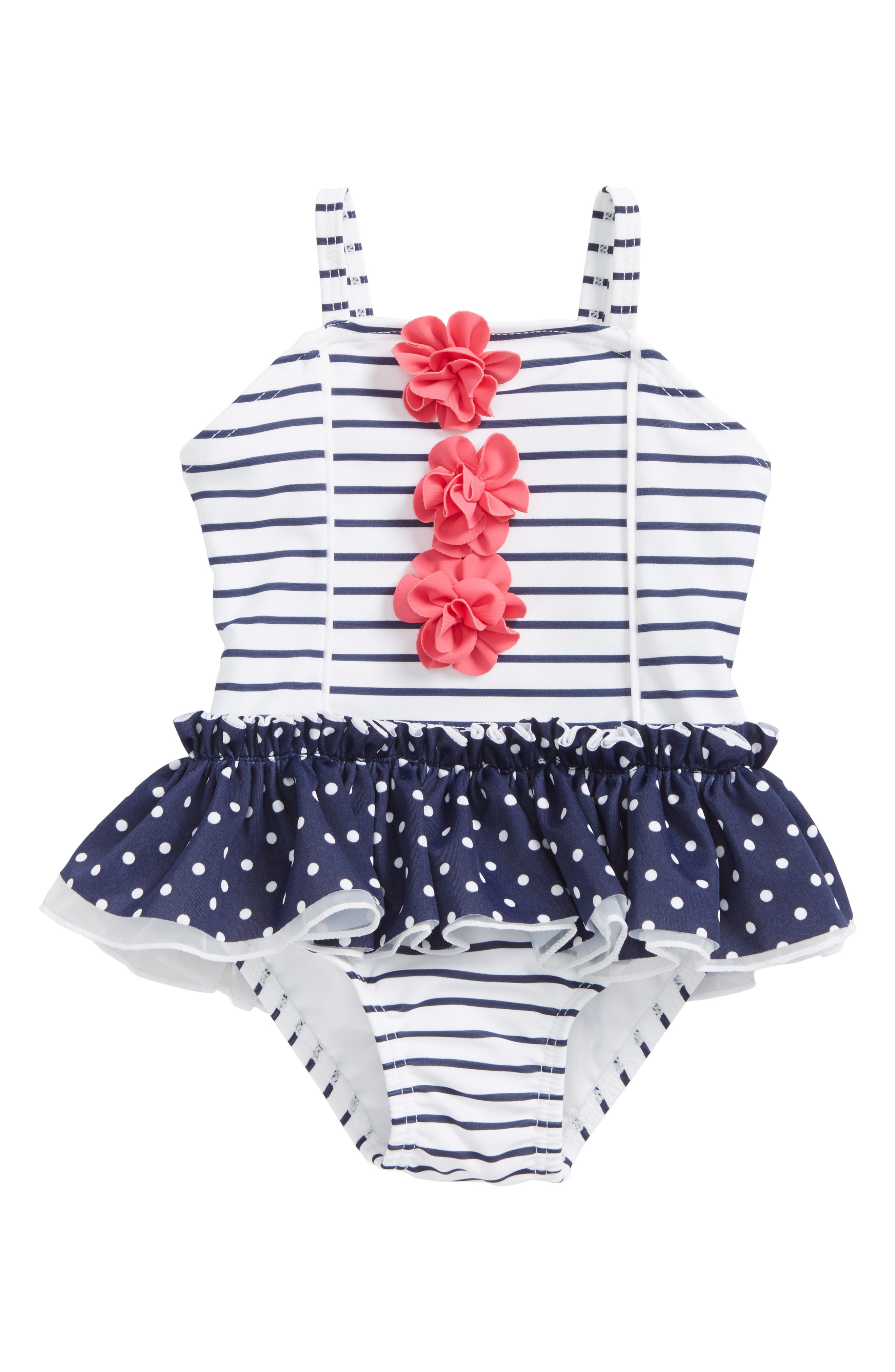 Stripe One-Piece Swimsuit,                         Main,                         color, Navy