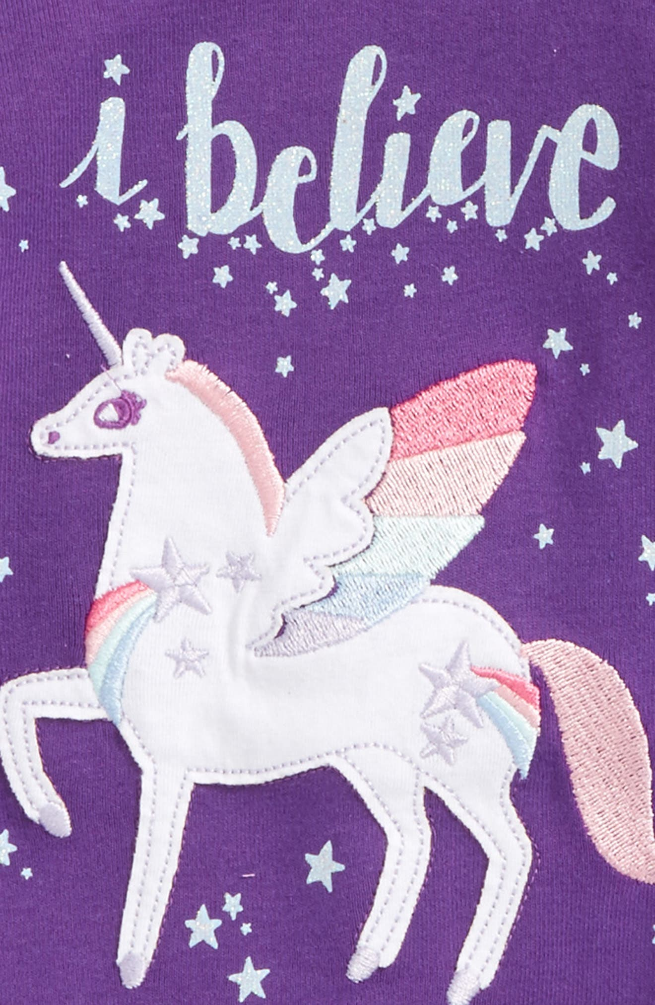Appliqué Two-Piece Fitted Pajamas,                             Alternate thumbnail 2, color,                             Winged Unicorns