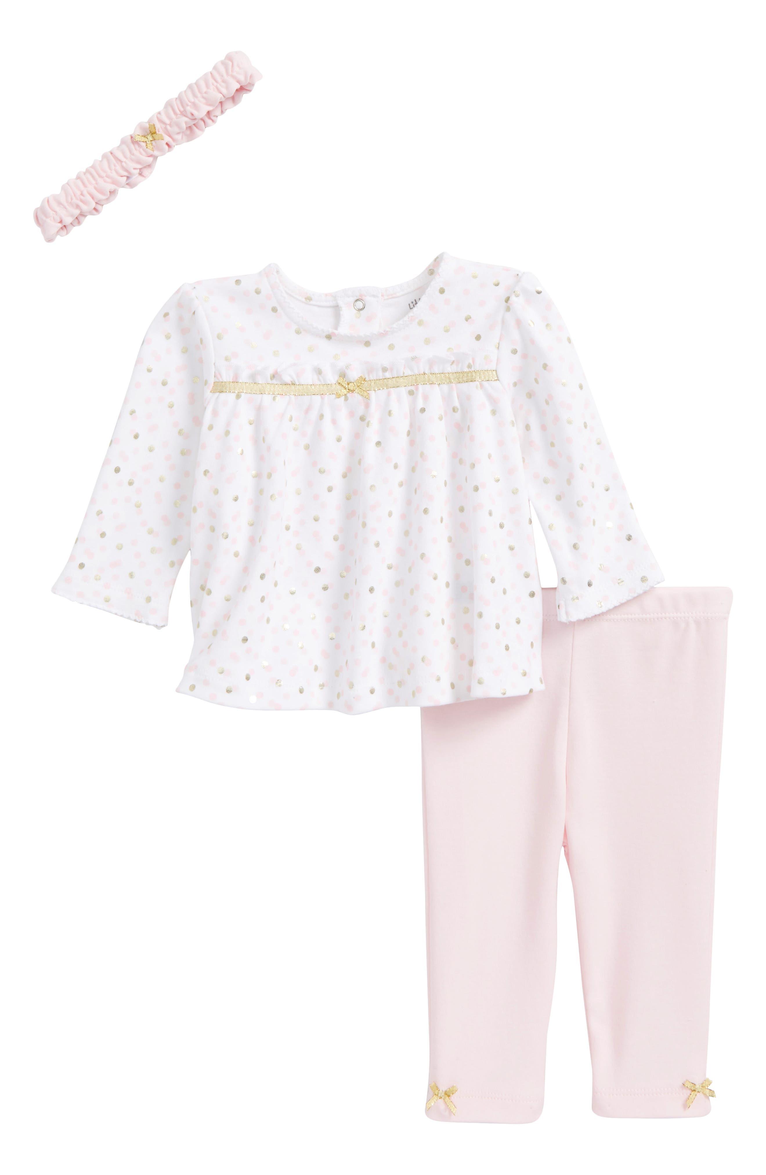 Main Image - Little Me Shimmer Dot Tunic, Leggings & Headband Set (Baby Girls)