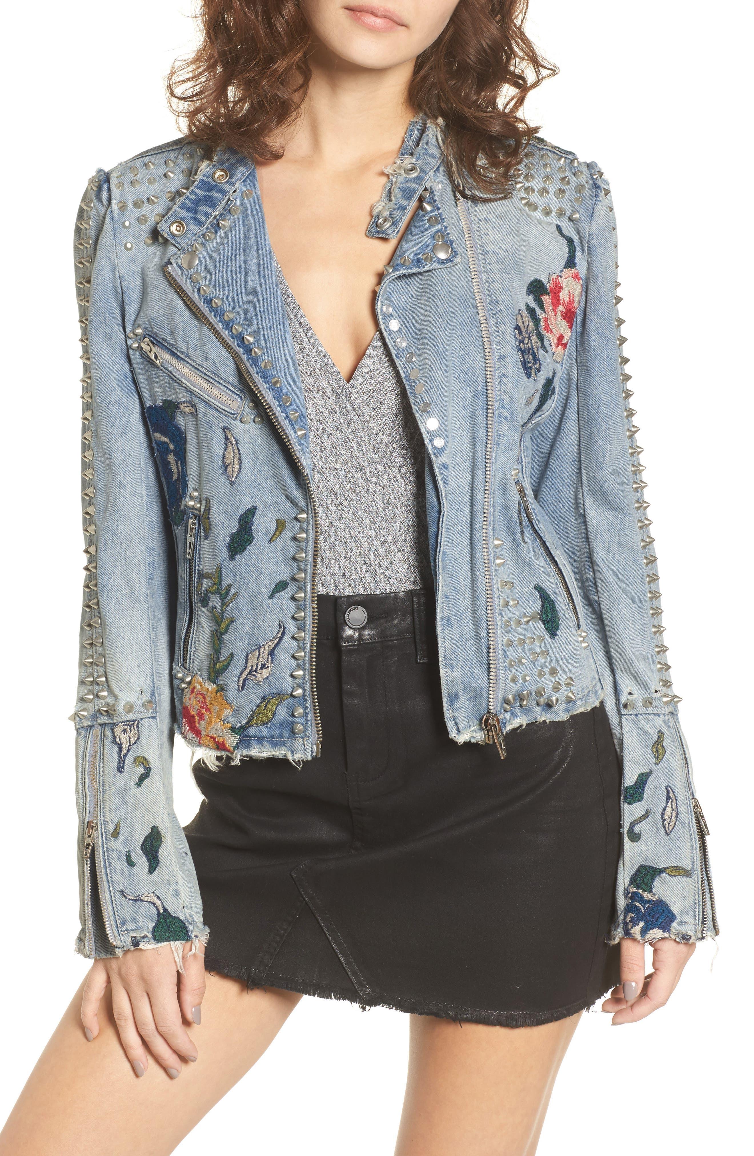 Alternate Image 1 Selected - BLANKNYC Sea of Flowers Studded Denim Moto Jacket
