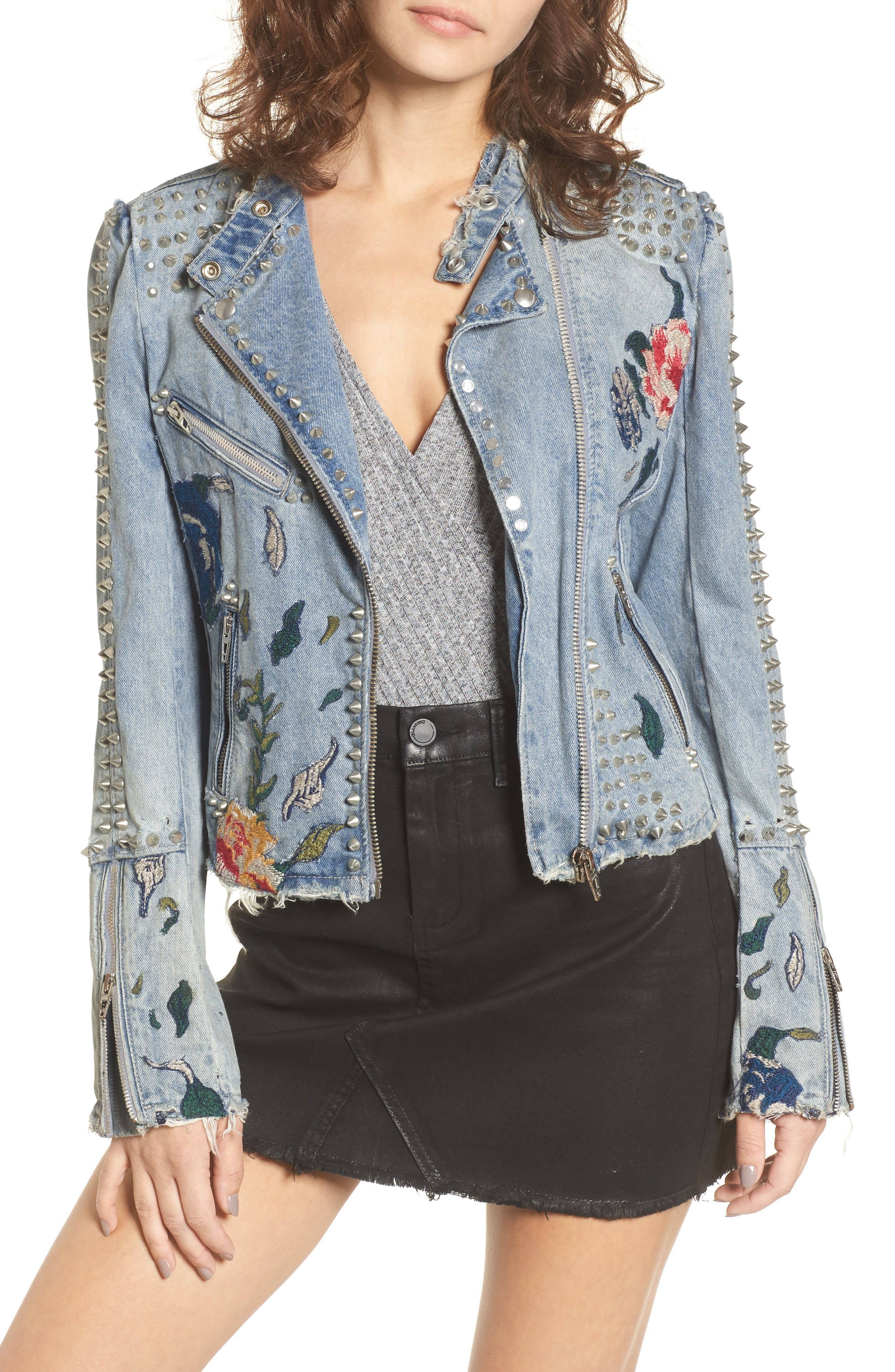 BLANKNYC Sea of Flowers Studded Denim Moto Jacket