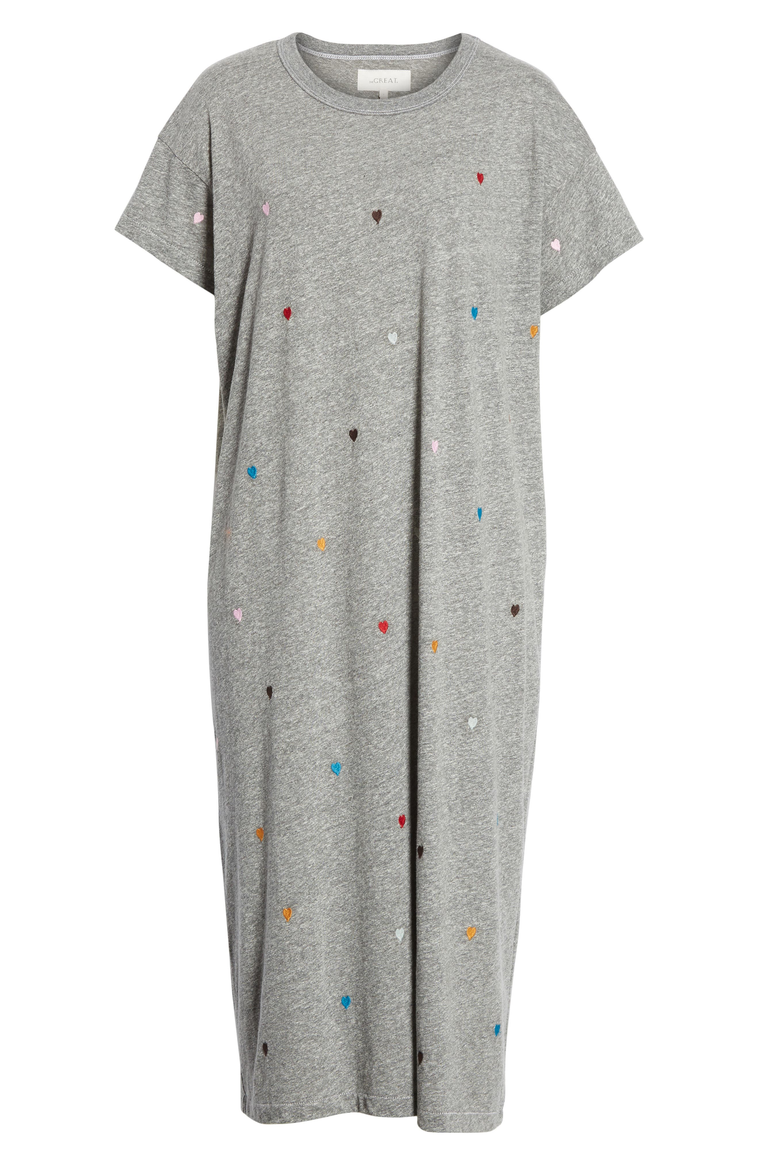 The Boxy Embroidered T-Shirt Dress,                             Alternate thumbnail 6, color,                             Grey/ Heart Embroidery