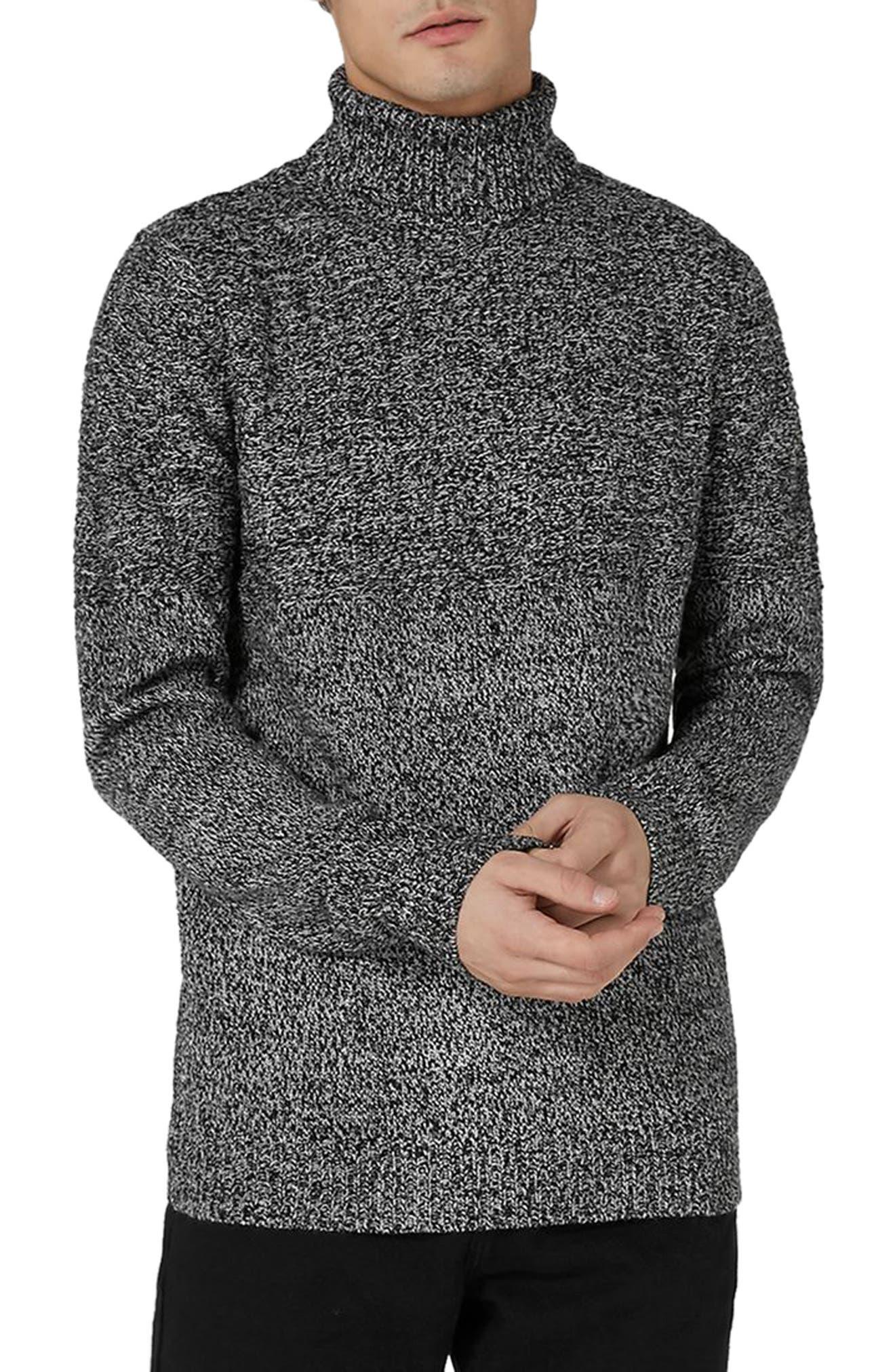 Twist Roll Neck Sweater,                         Main,                         color, Grey Multi