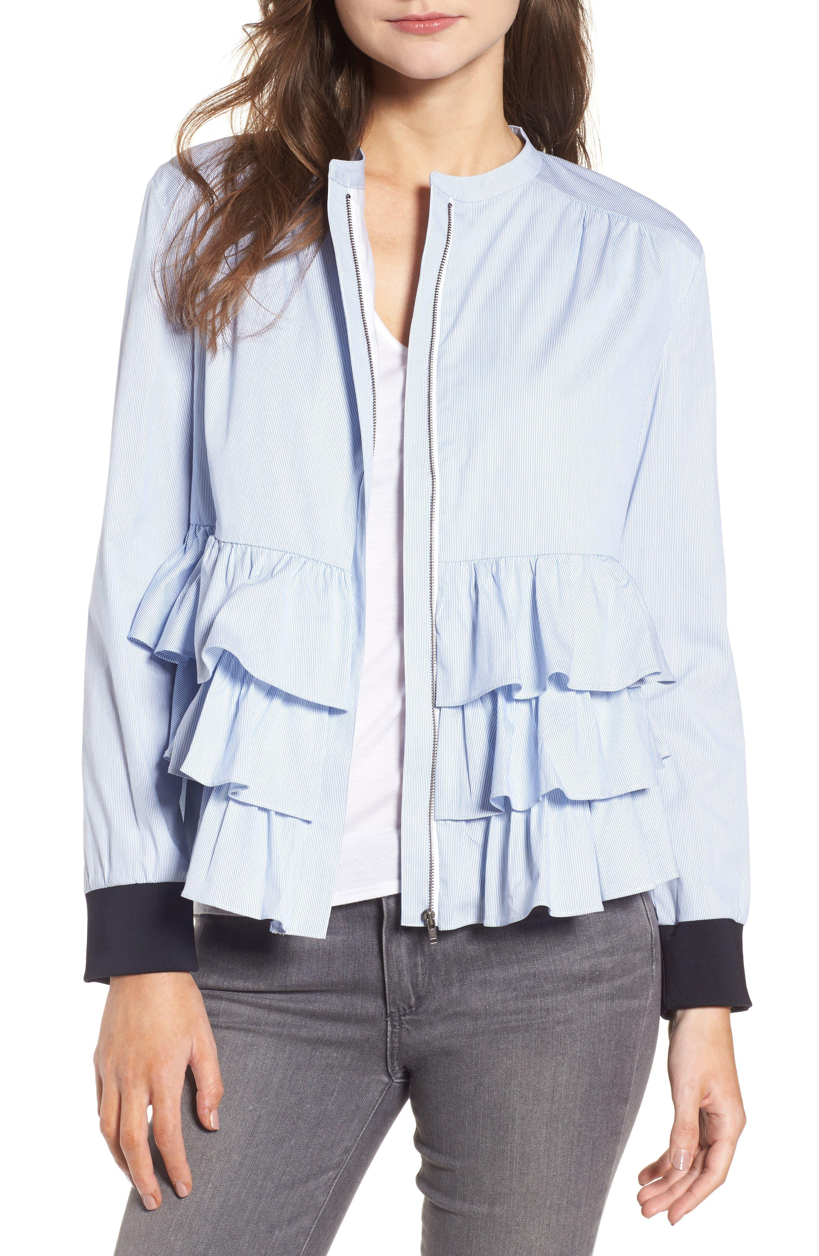 Ruffle Jacket,                         Main,                         color, Blue- White Single Stripe