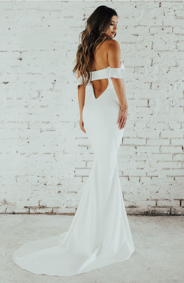 Noel and jean by katie may ruffled off the shoulder crepe for Black and white beach wedding dresses