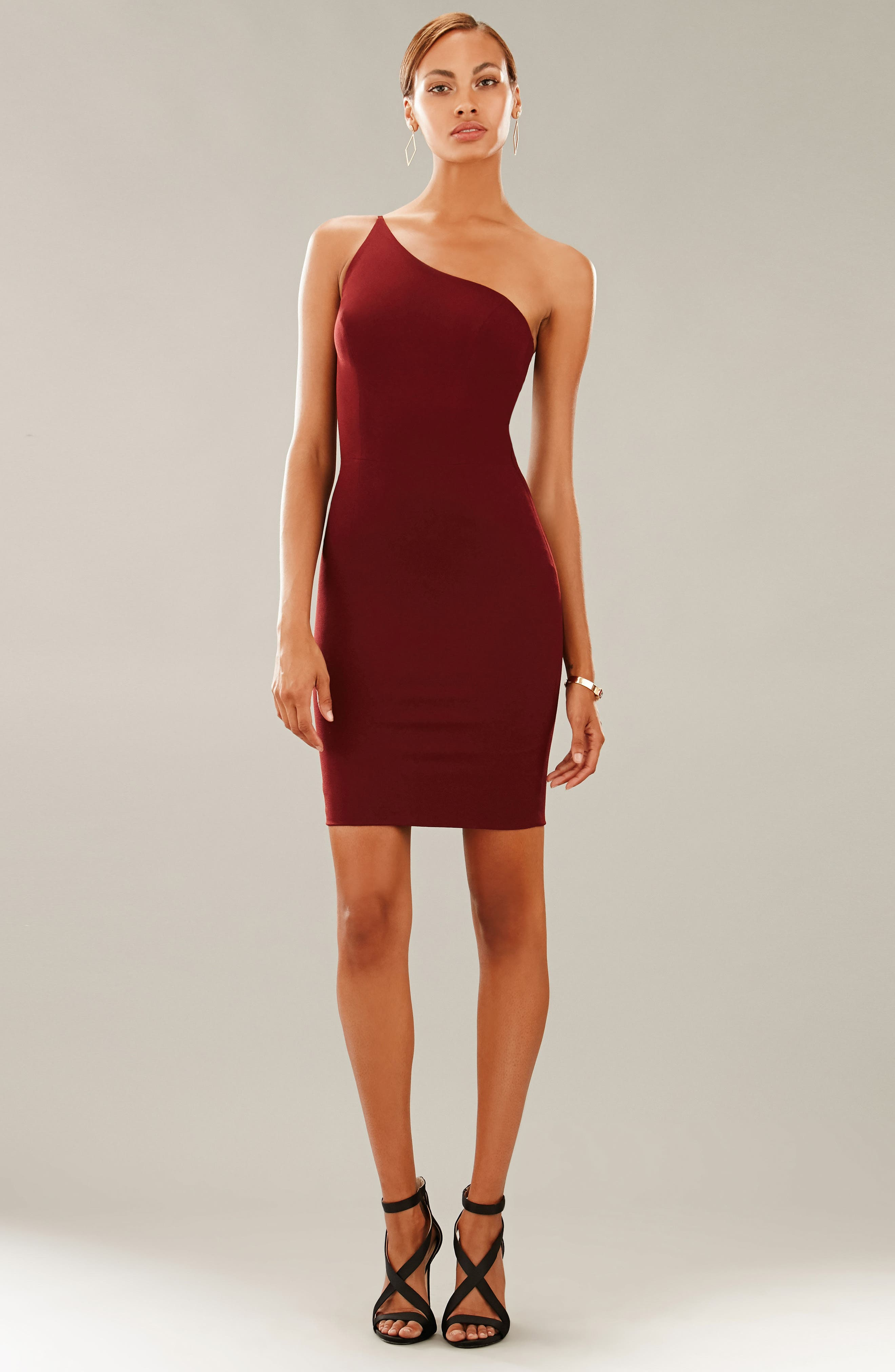 Jennifer One-Shoulder Body-Con Dress,                             Alternate thumbnail 2, color,                             Burgundy