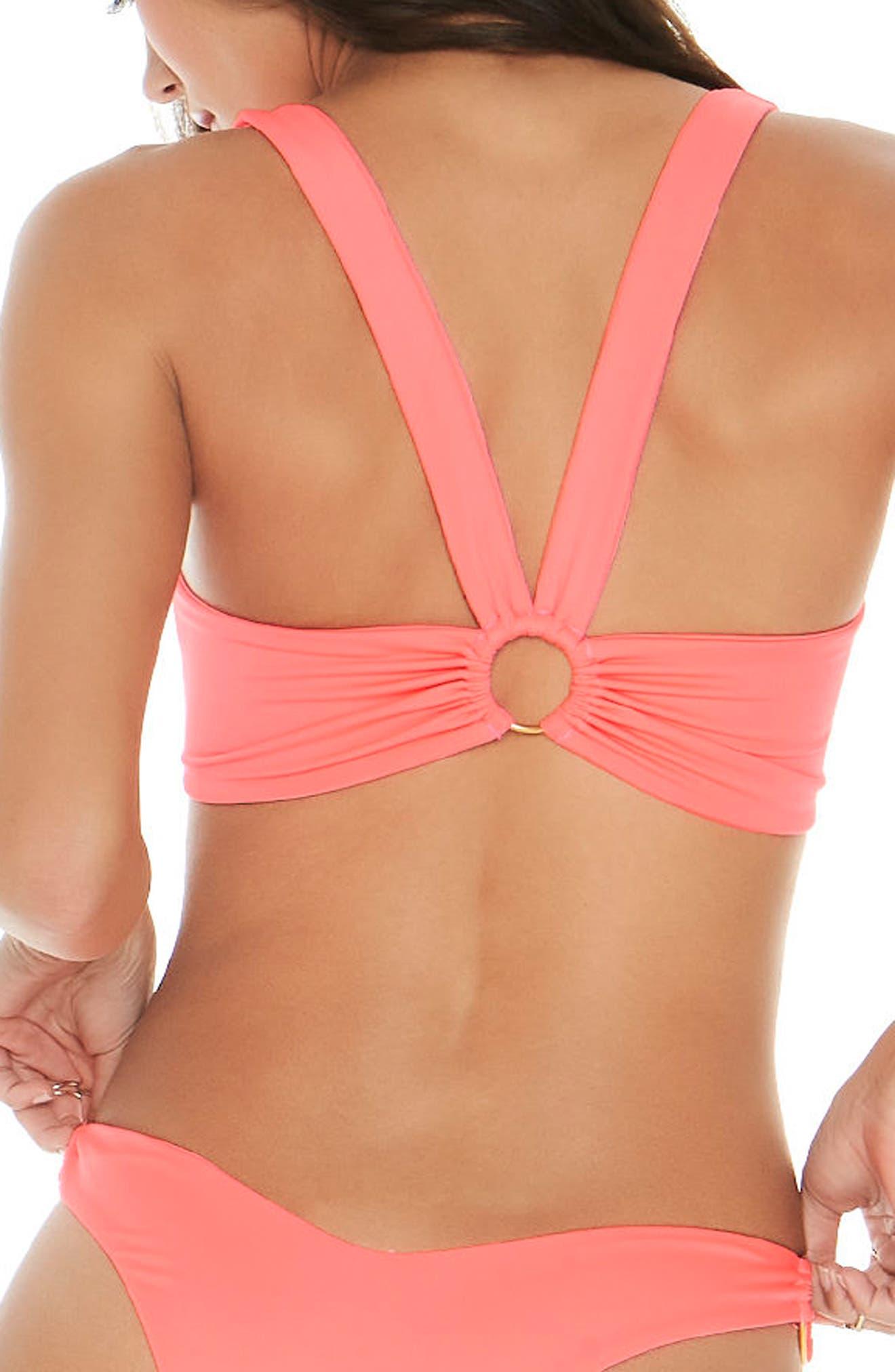 Julia Ring-Detail Bikini Top,                             Alternate thumbnail 2, color,                             Neon Pink