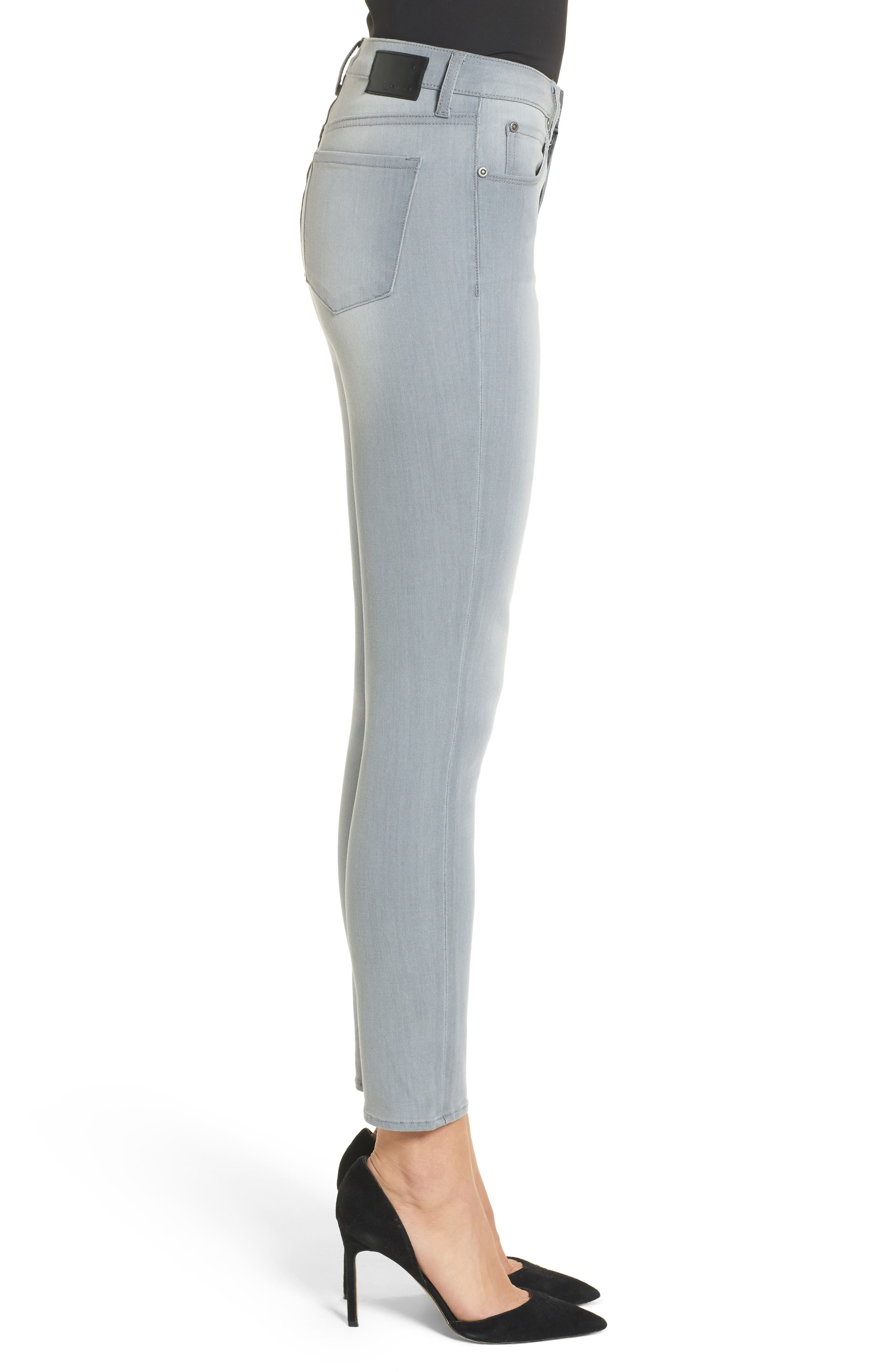 High Waist Skinny Jeans,                             Alternate thumbnail 3, color,                             Grey Wash